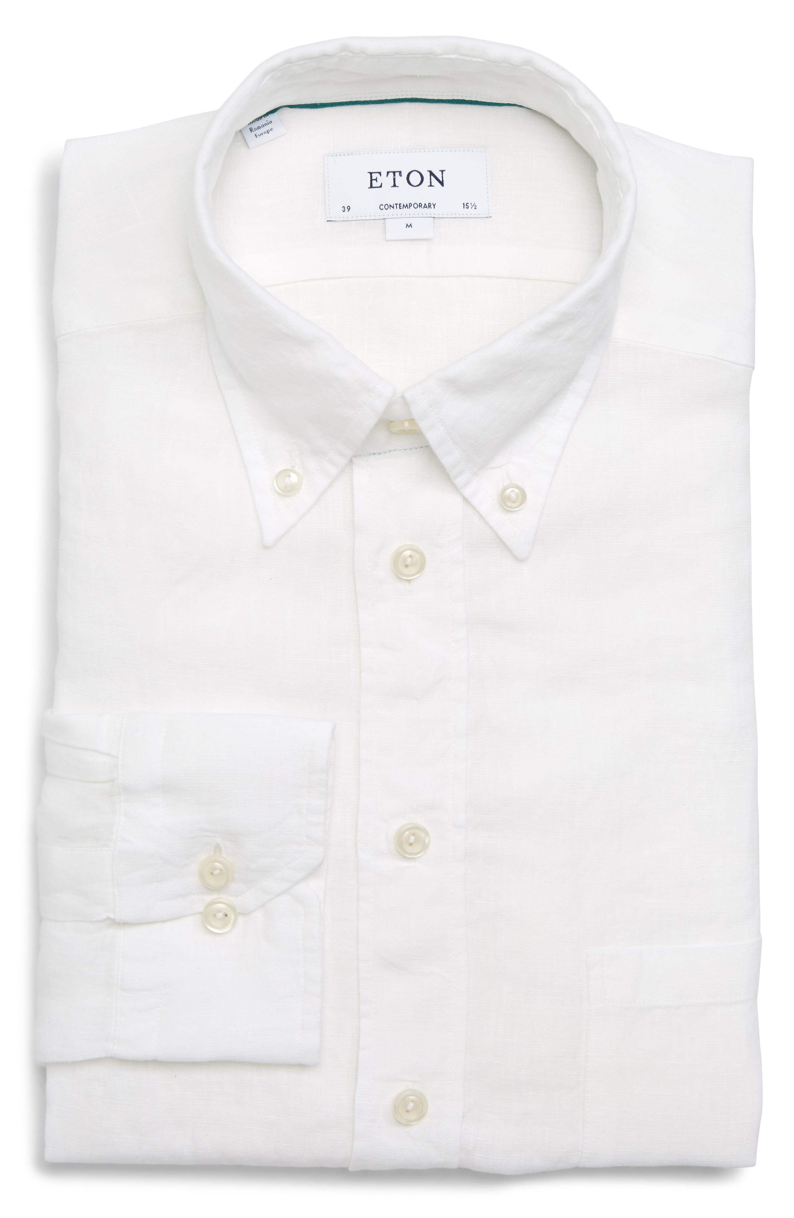 Contemporary Fit Solid Linen Dress Shirt,                             Alternate thumbnail 5, color,                             WHITE