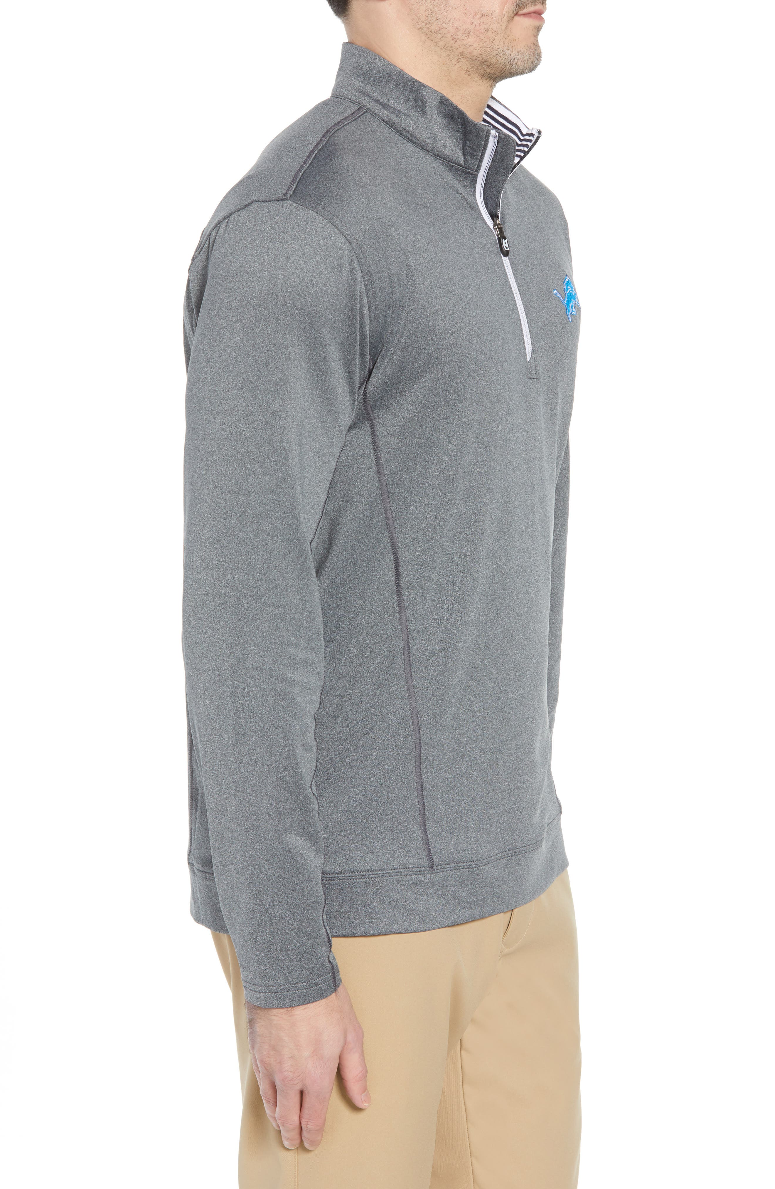 Endurance Detroit Lions Regular Fit Pullover,                             Alternate thumbnail 3, color,                             CHARCOAL HEATHER