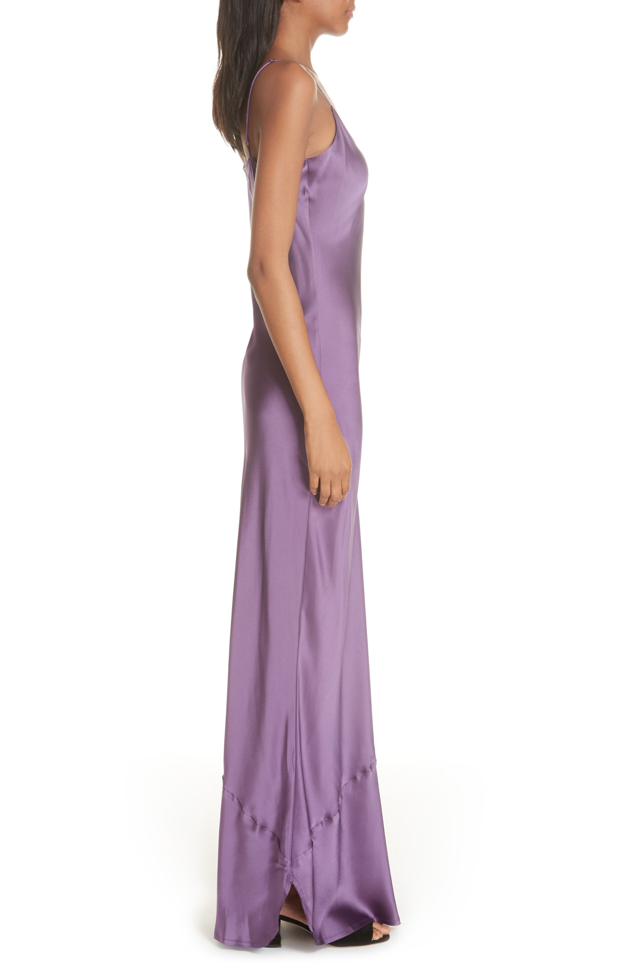 Silk Camisole Gown,                             Alternate thumbnail 3, color,                             LILAC