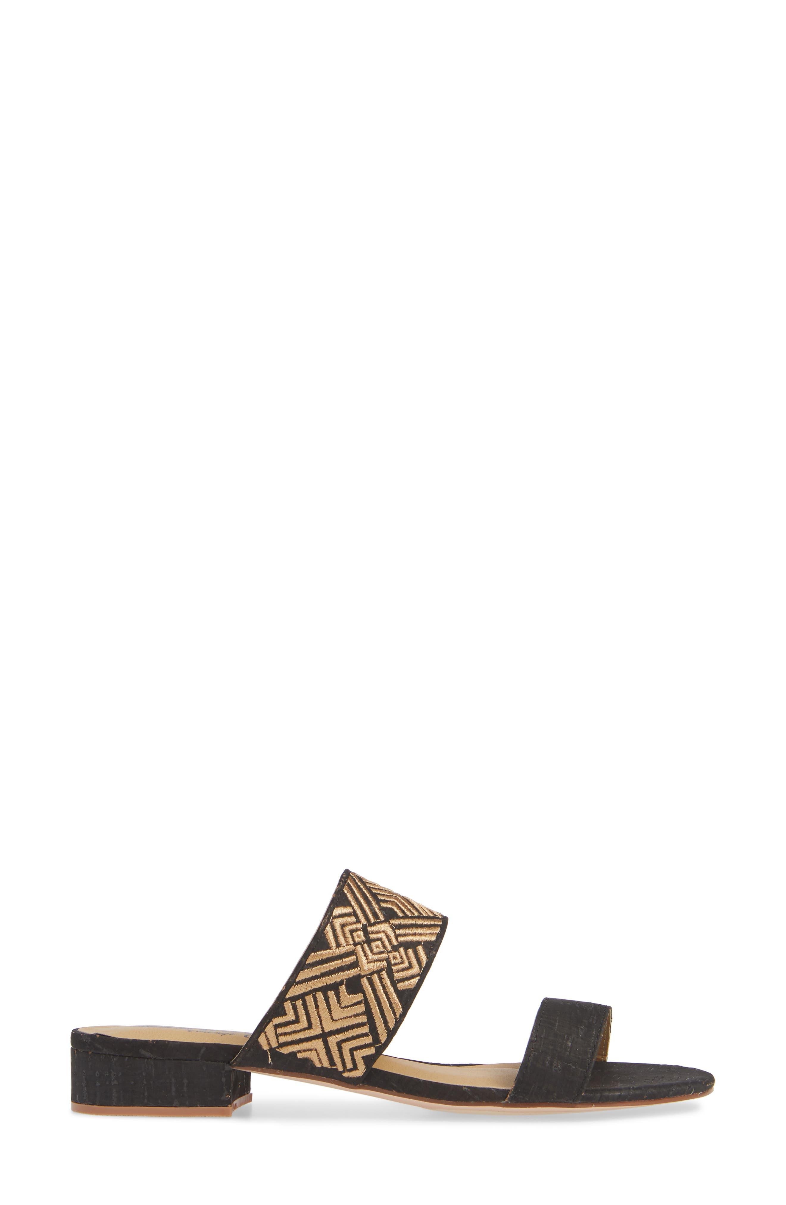 Valora Slide Sandal,                             Alternate thumbnail 3, color,                             BLACK FABRIC