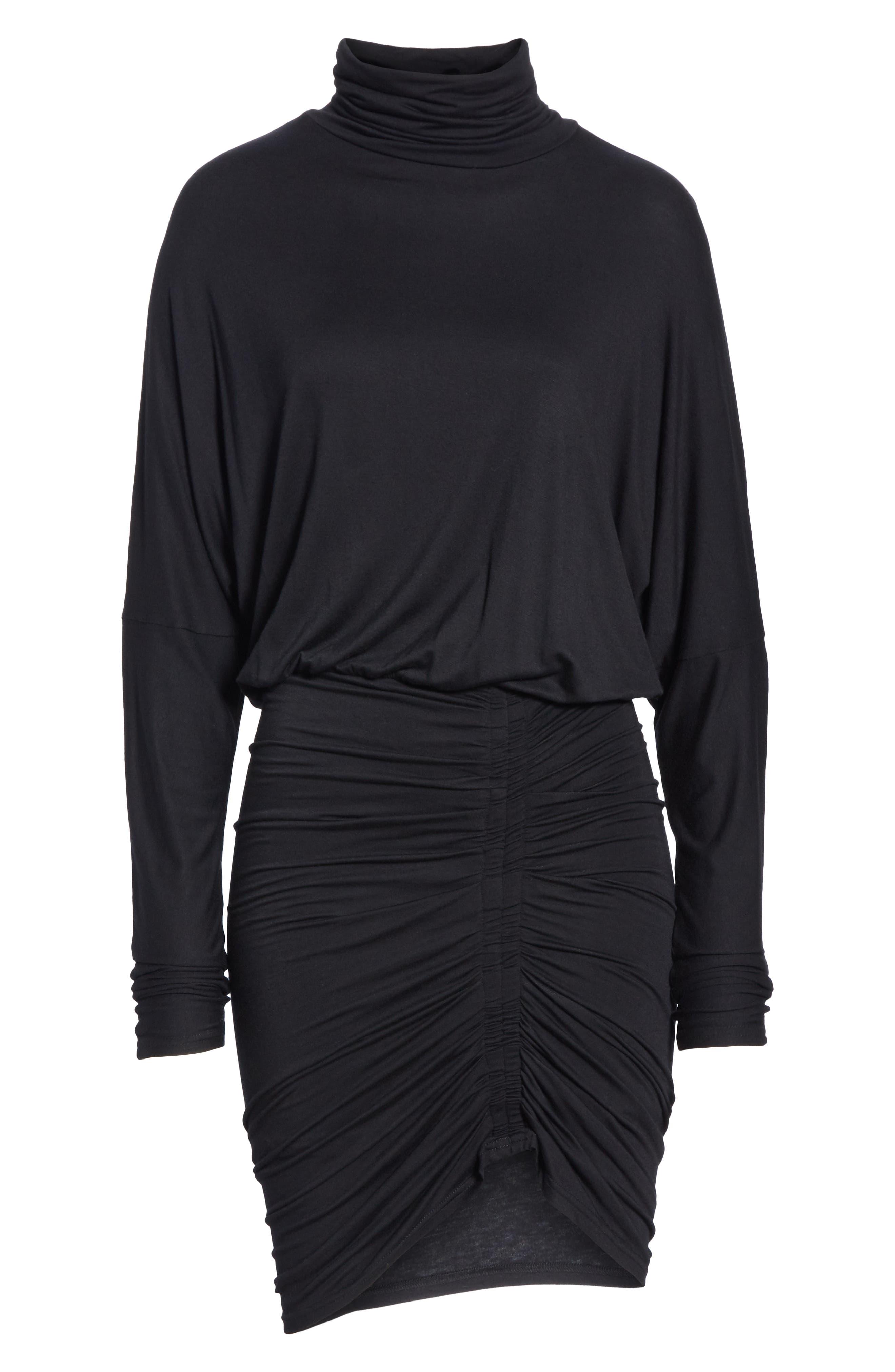 Manda Ruched Dress,                             Alternate thumbnail 6, color,                             BLACK