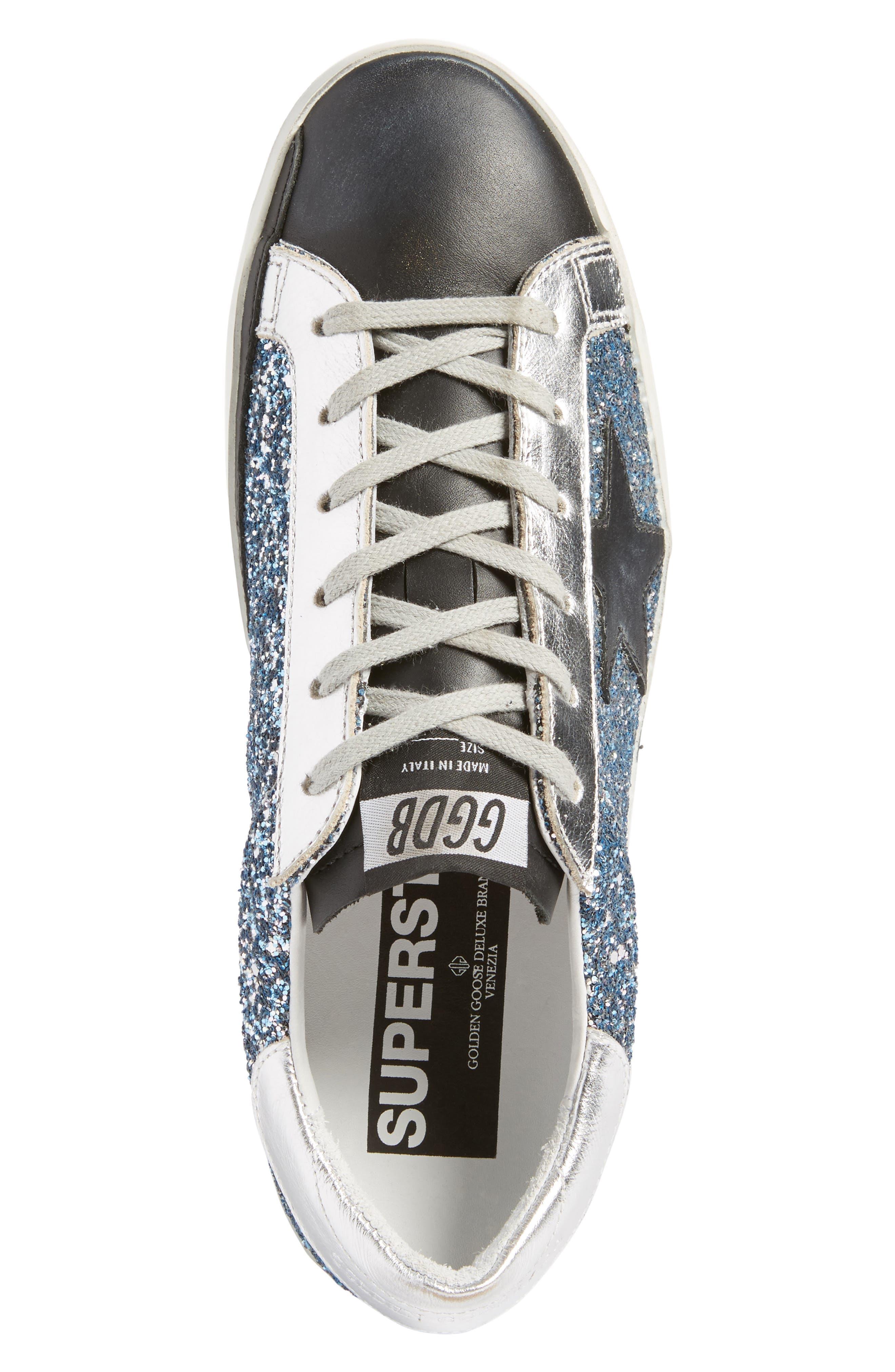 Superstar Glitter Sneaker,                             Alternate thumbnail 5, color,                             400