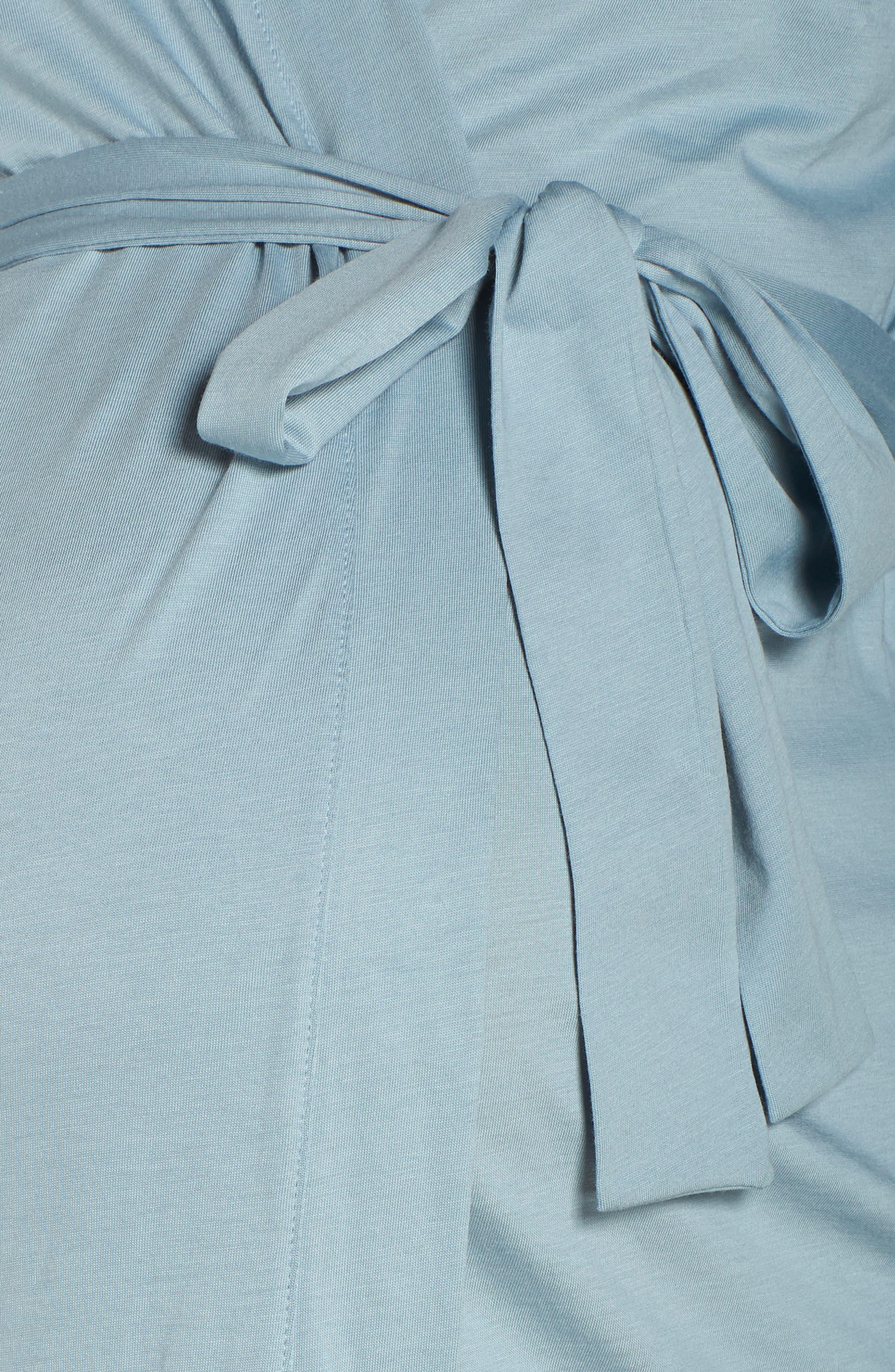 Maternity/Nursing Robe,                             Alternate thumbnail 5, color,                             ROBINS EGG BLUE