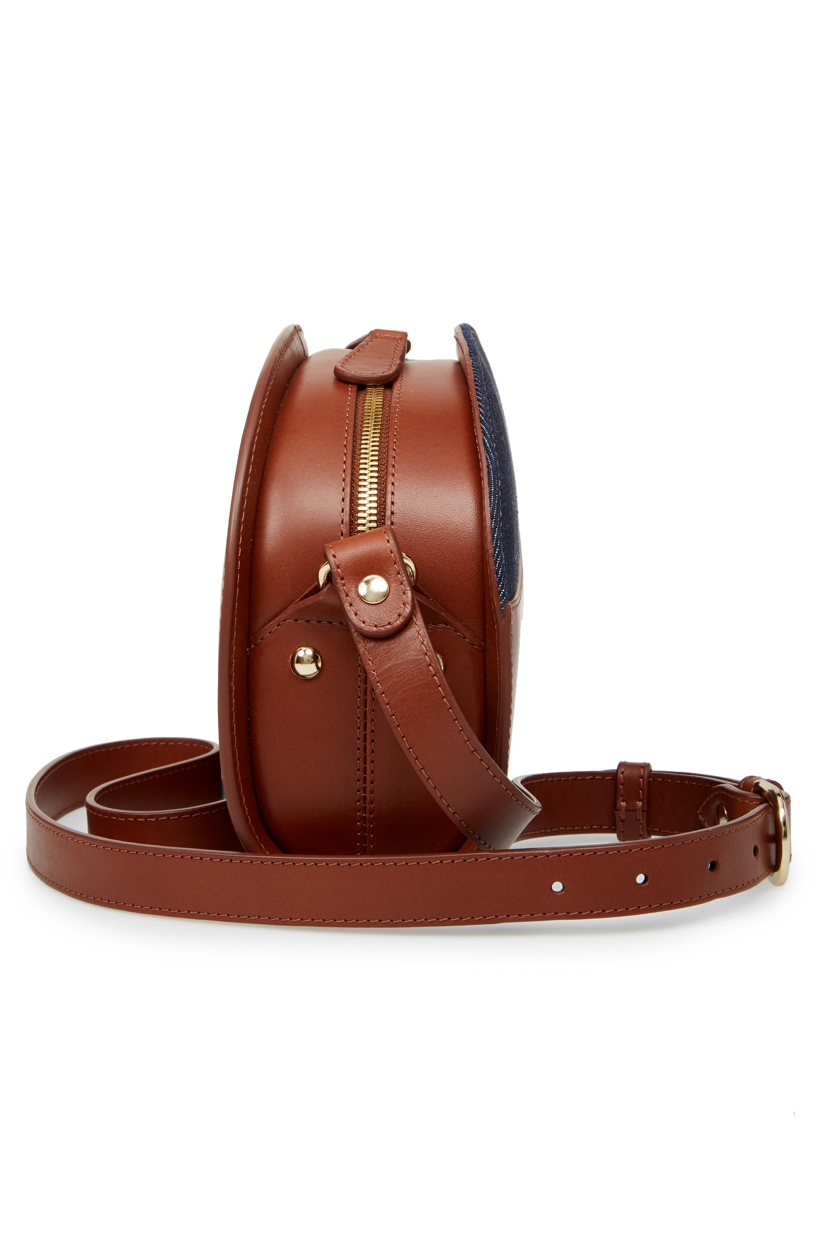 Sac Demilune Leather & Denim Crossbody Bag,                             Alternate thumbnail 5, color,                             NOISETTE CAD