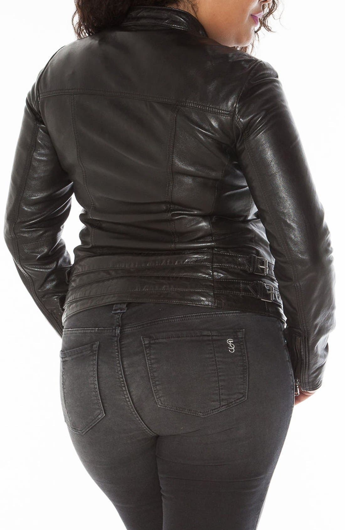 Fitted Leather Moto Jacket,                             Alternate thumbnail 5, color,                             BLACK