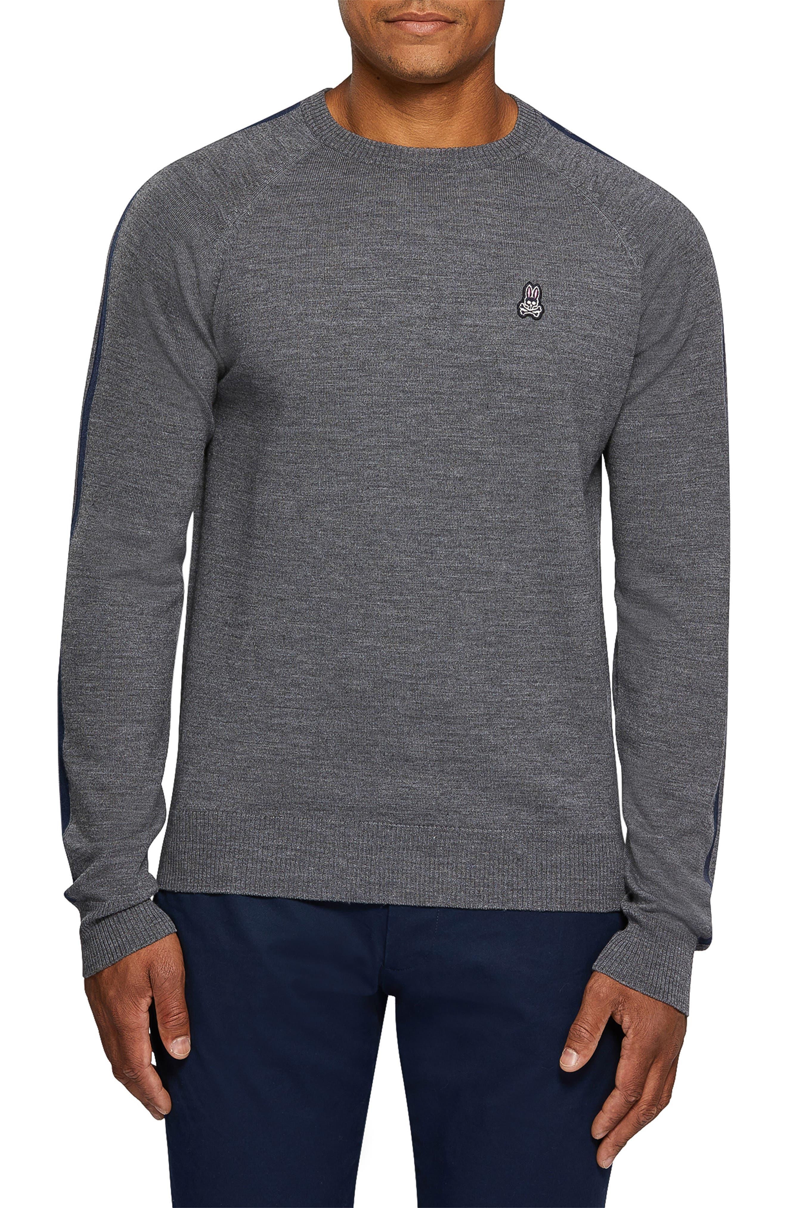 PSYCHO BUNNY Raglan Merino Wool Sweater, Main, color, HEATHER GREY