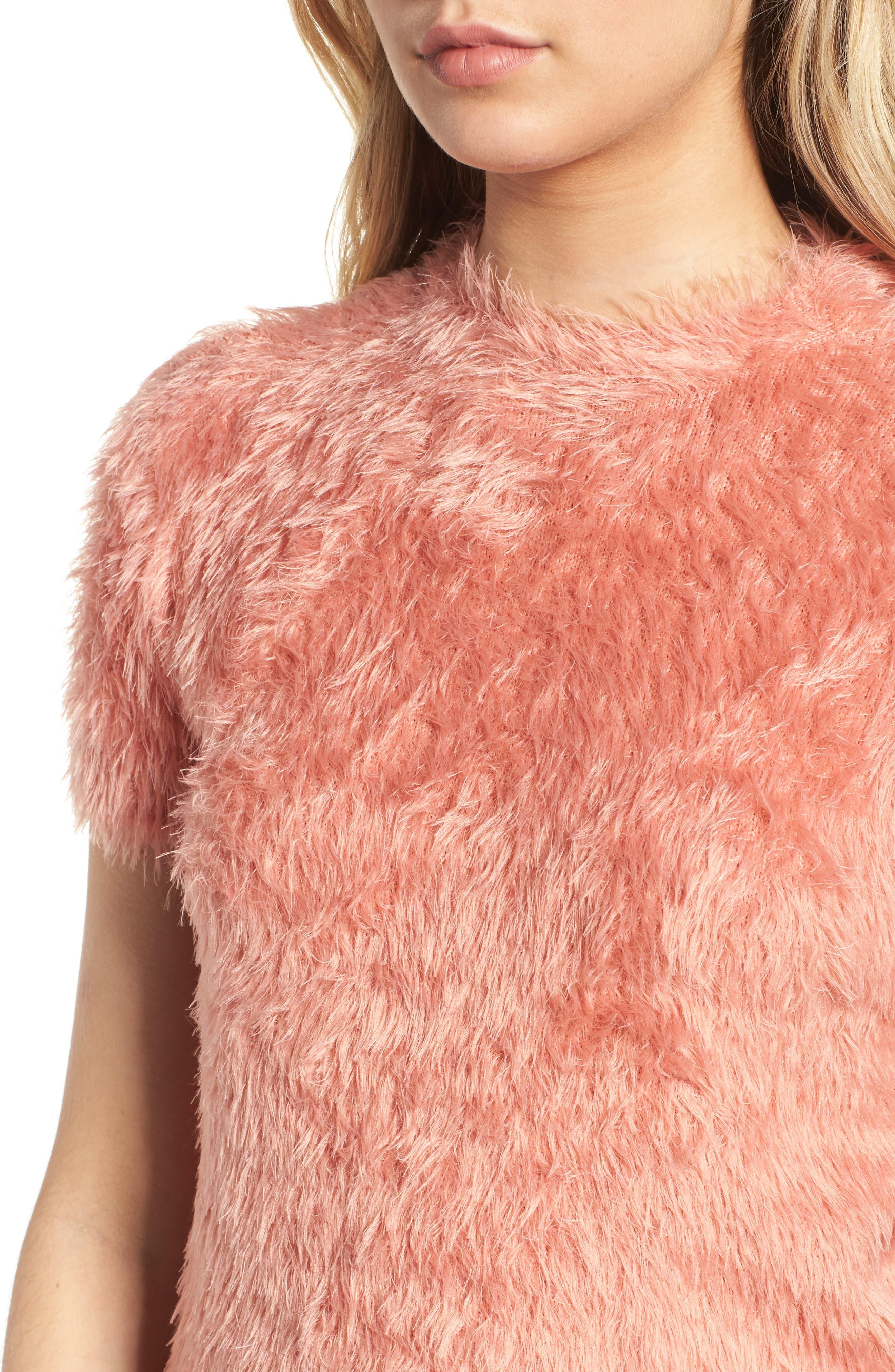 Eyelash Sweater,                             Alternate thumbnail 4, color,                             PINK
