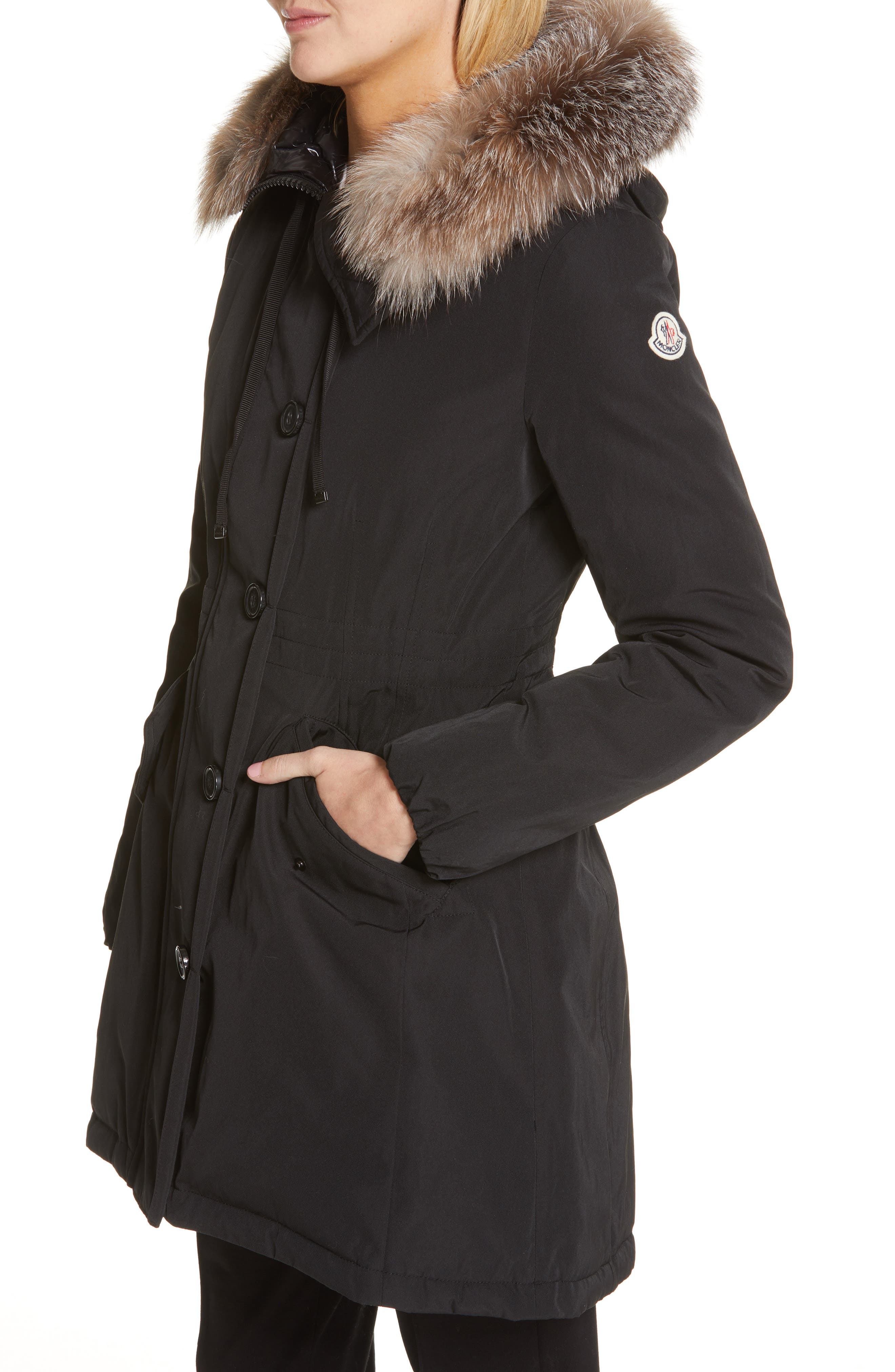 Monticole Hooded Down Coat with Removable Genuine Fox Fur Trim,                             Alternate thumbnail 5, color,                             BLACK