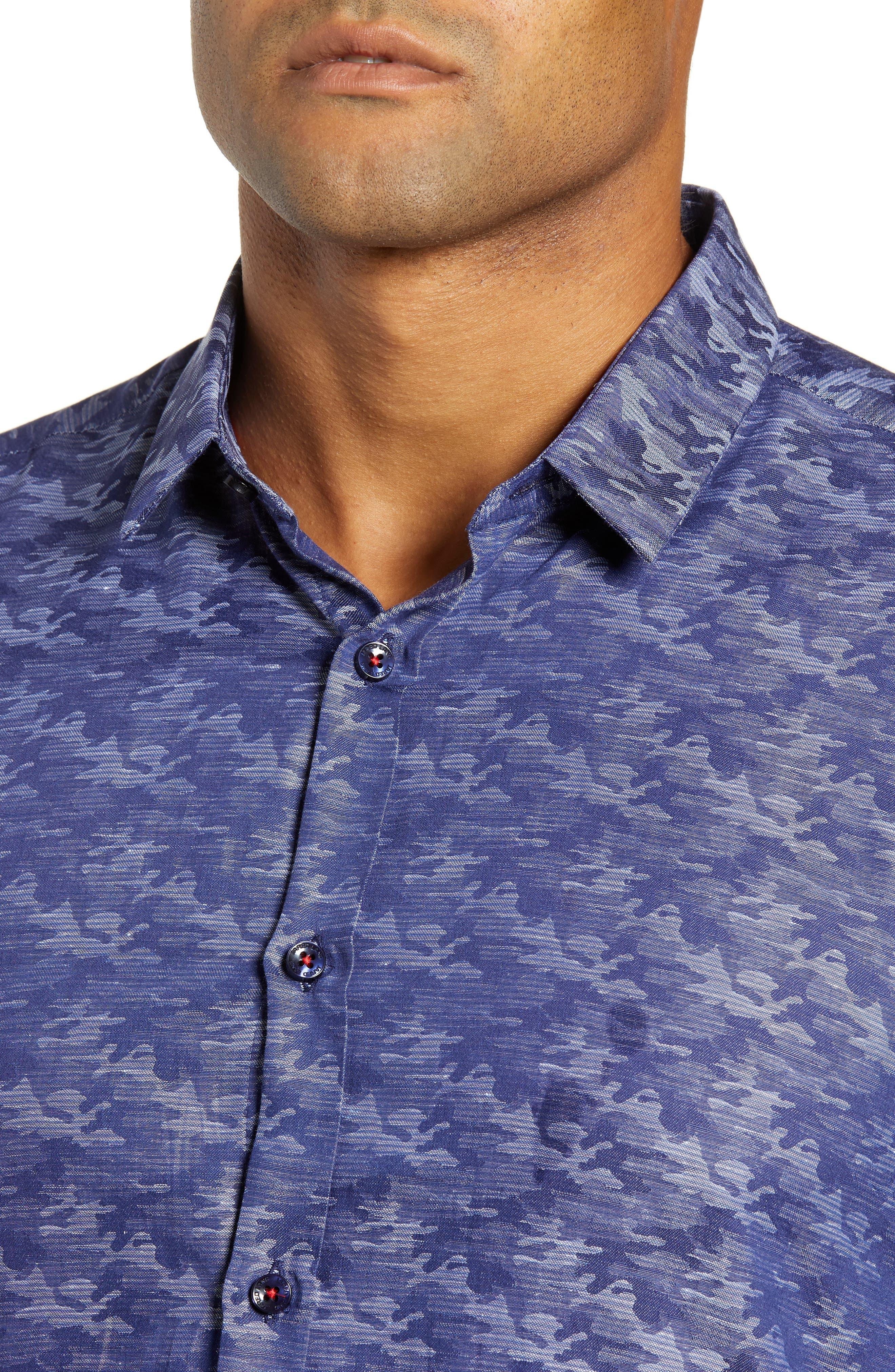 Trim Fit Sport Shirt,                             Alternate thumbnail 2, color,                             BLUE CAMO