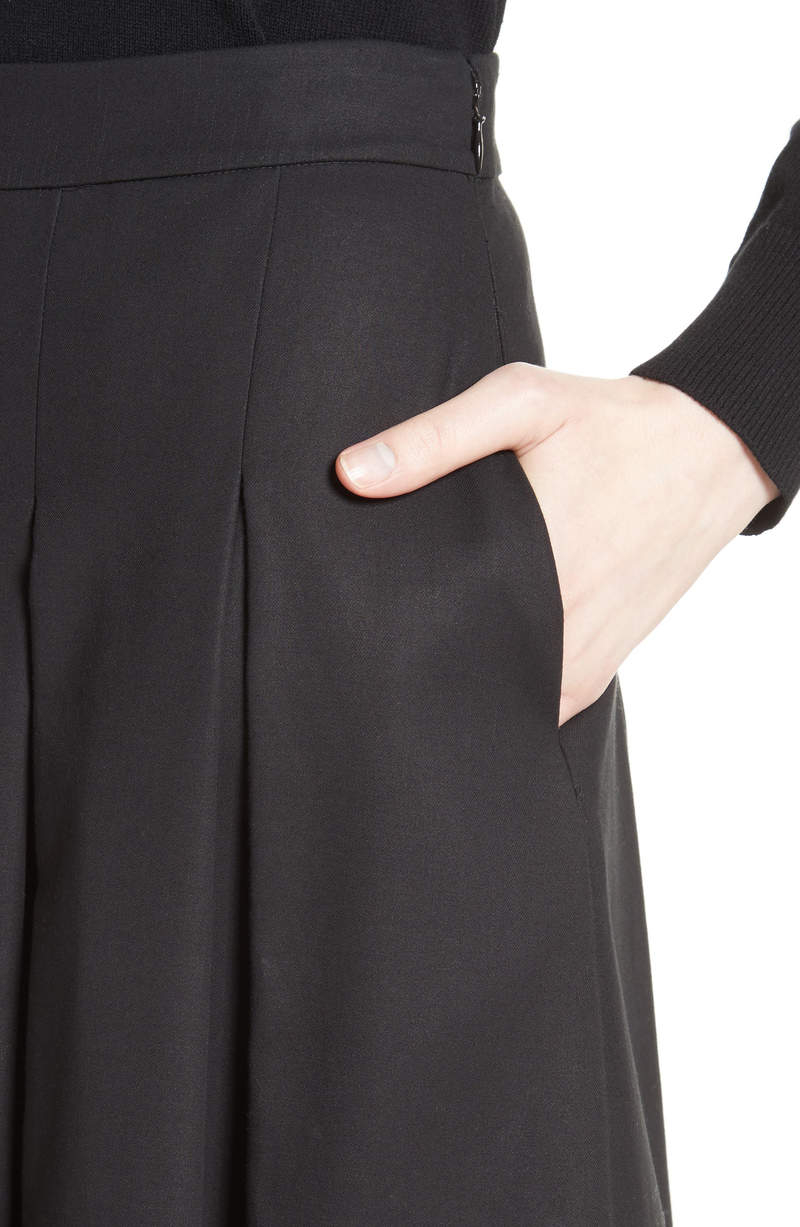 Gabardine Pleated Skirt,                             Alternate thumbnail 4, color,                             001