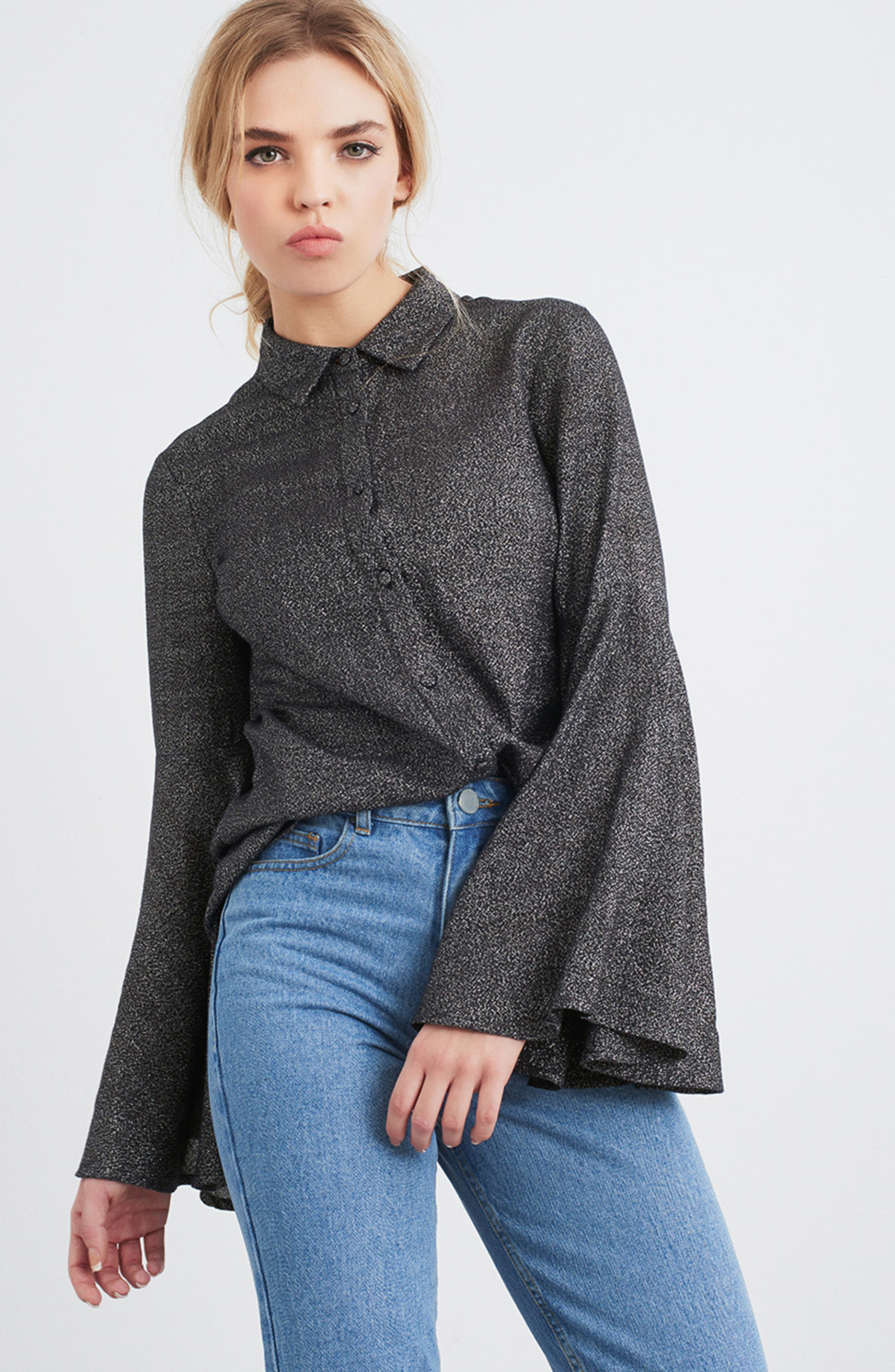 Sparkly Bell Sleeve Shirt,                             Alternate thumbnail 7, color,                             001