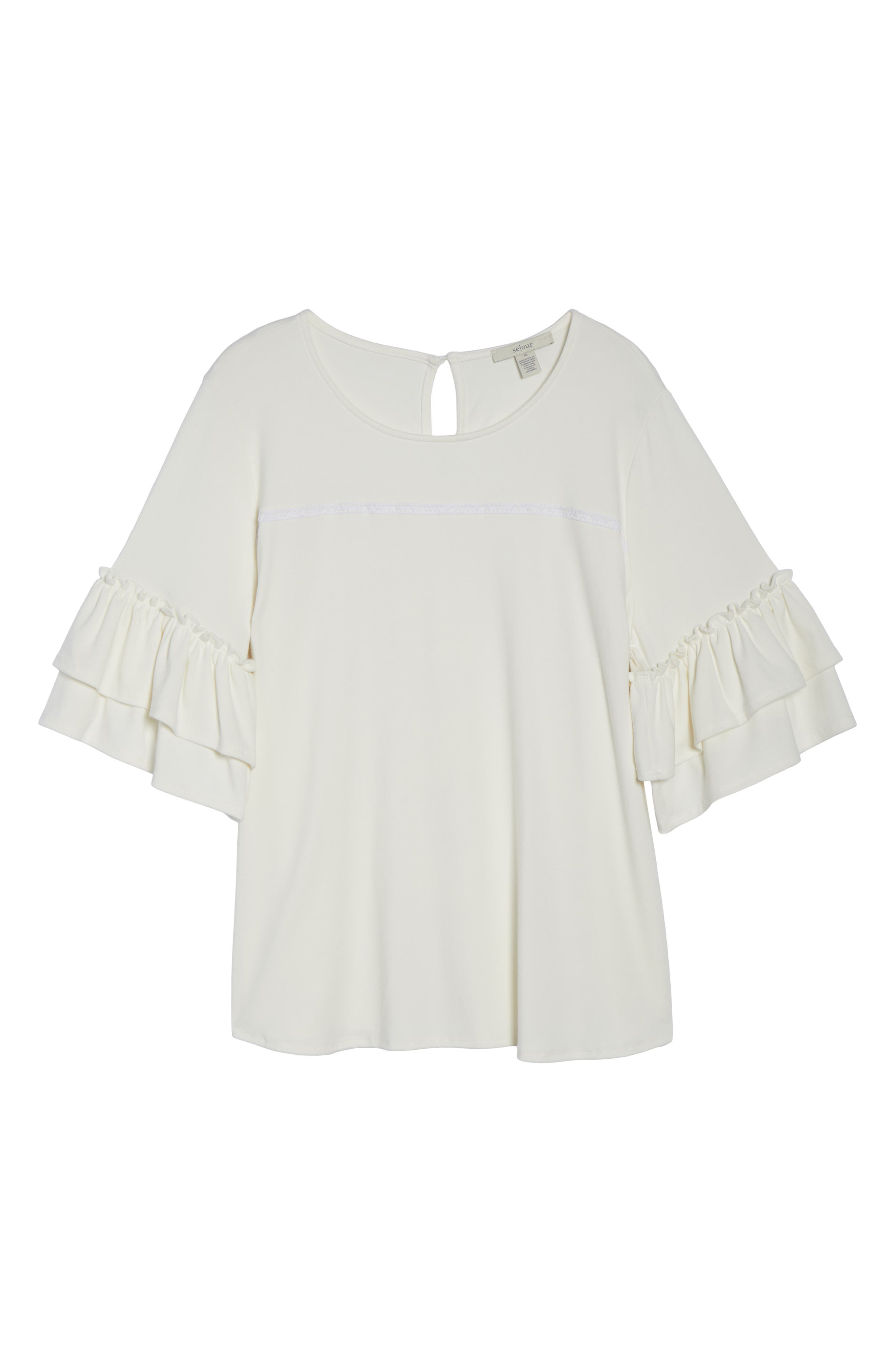 Double Ruffle Sleeve Top,                             Alternate thumbnail 12, color,