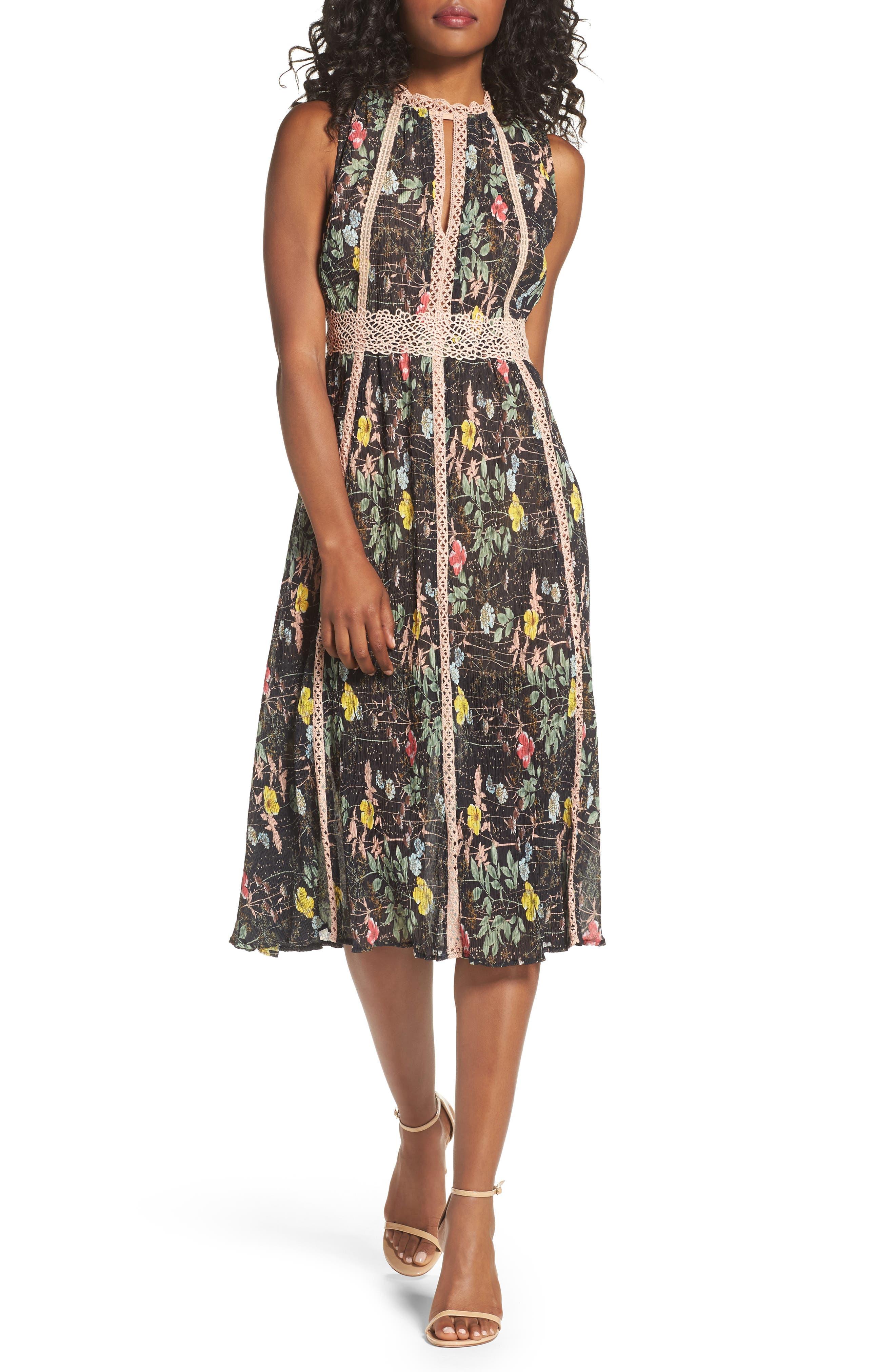 FOXIEDOX Kinsey Print Gauze Midi Dress, Main, color, 009