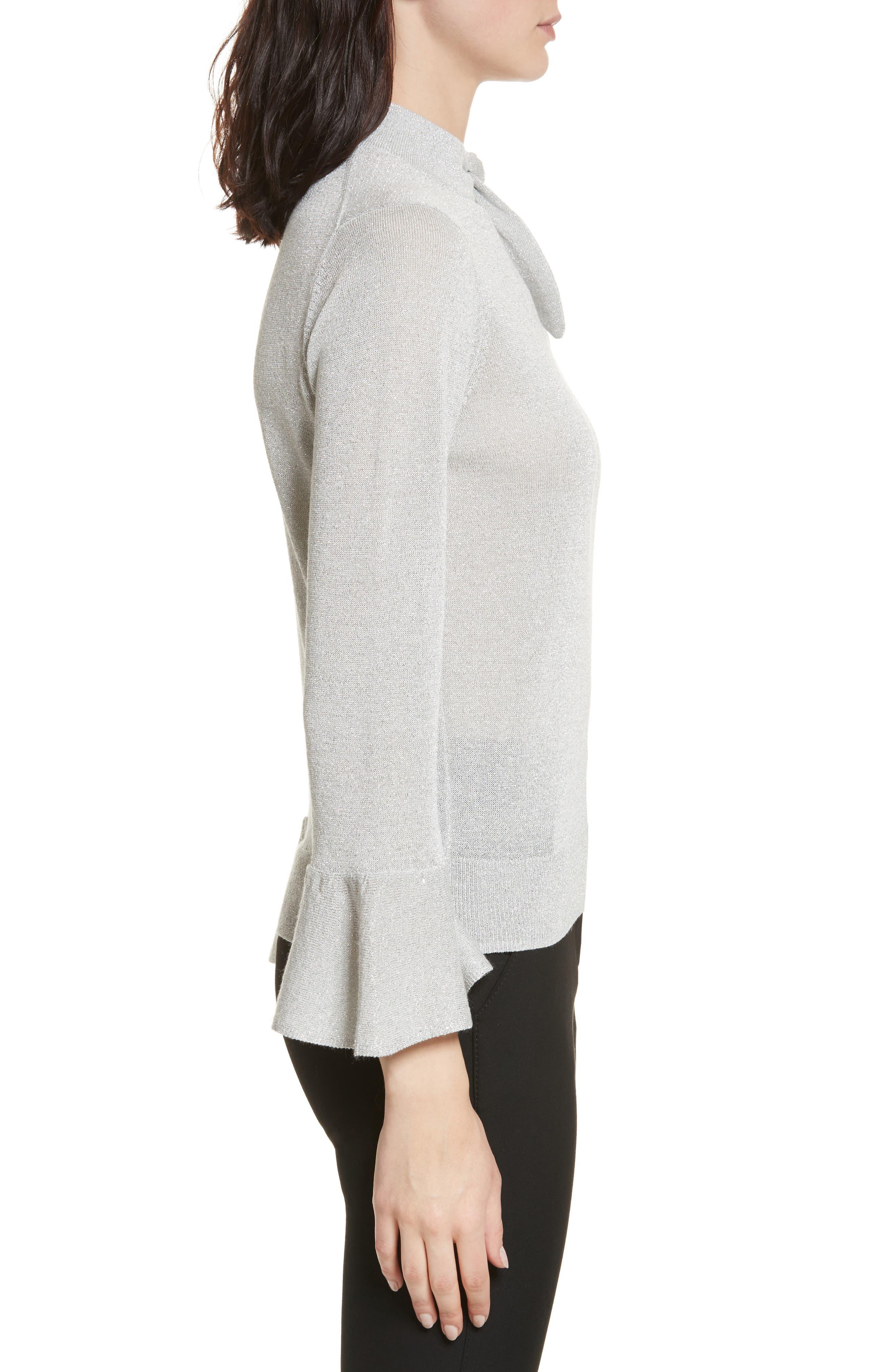 metallic knot sweater,                             Alternate thumbnail 3, color,                             044