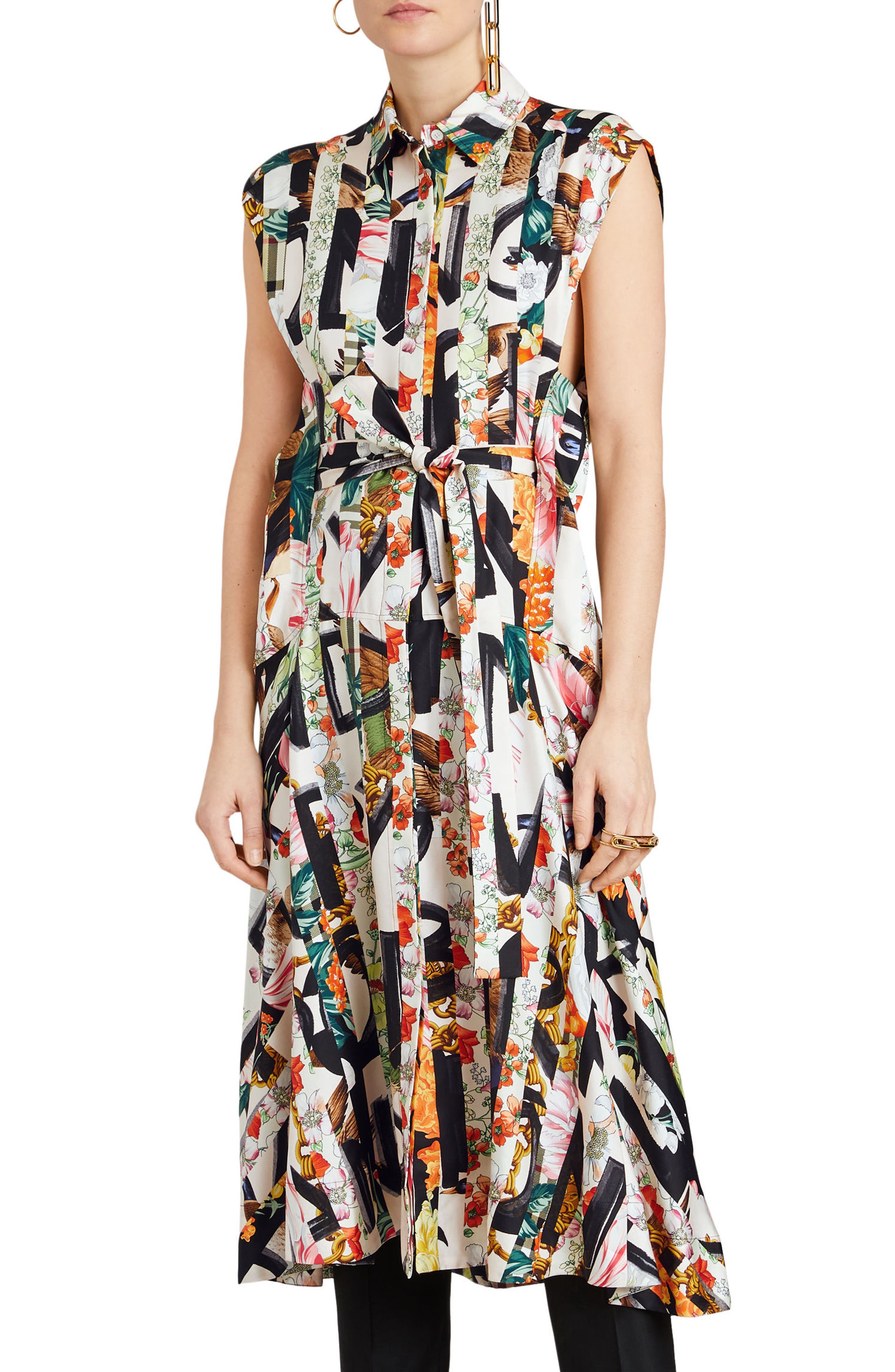Sacha Silk Dress,                         Main,                         color, MULTICOLOUR IP PTTN