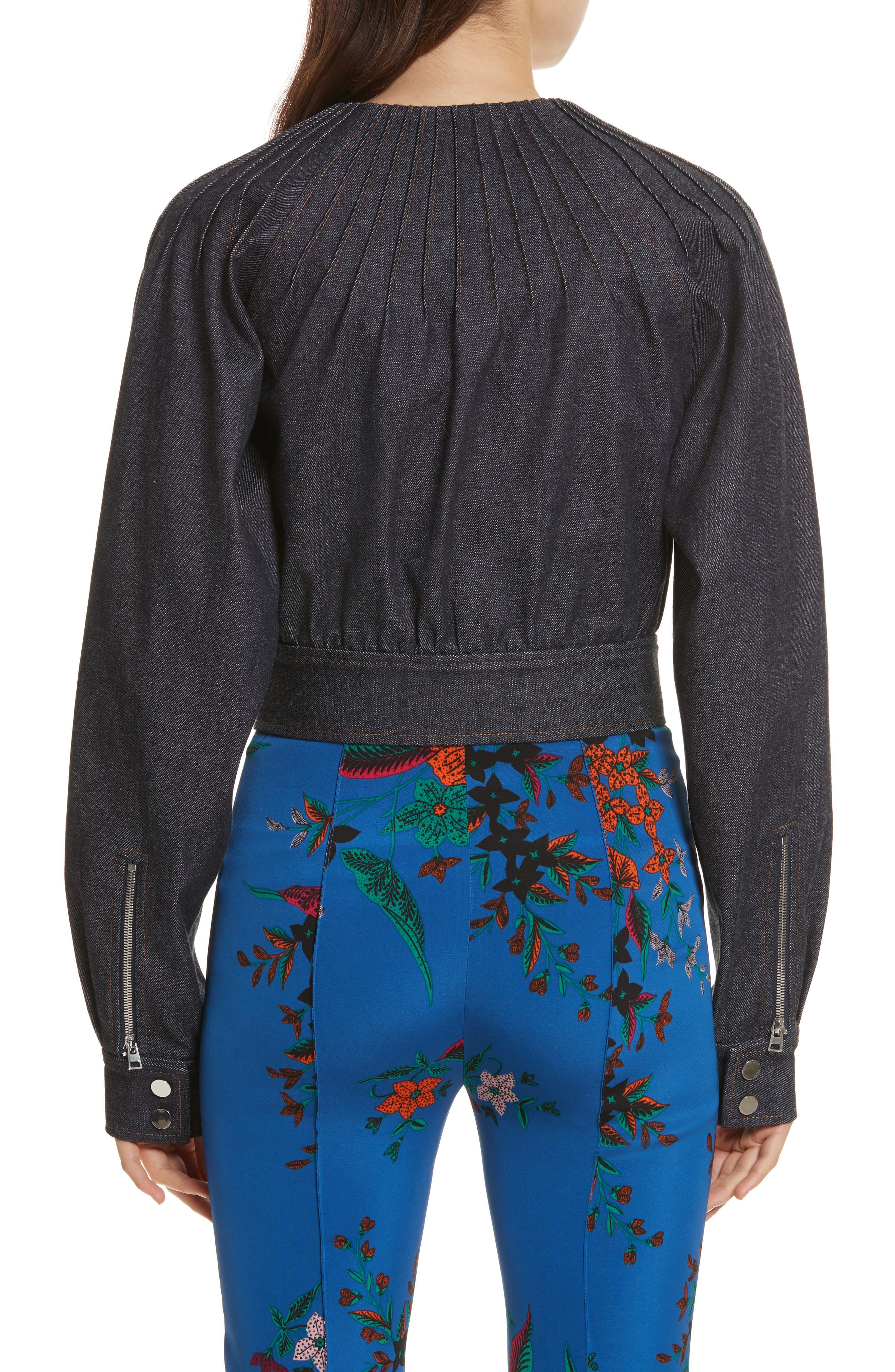 Diane von Furstenberg Pintuck Denim Jacket,                             Alternate thumbnail 2, color,                             400