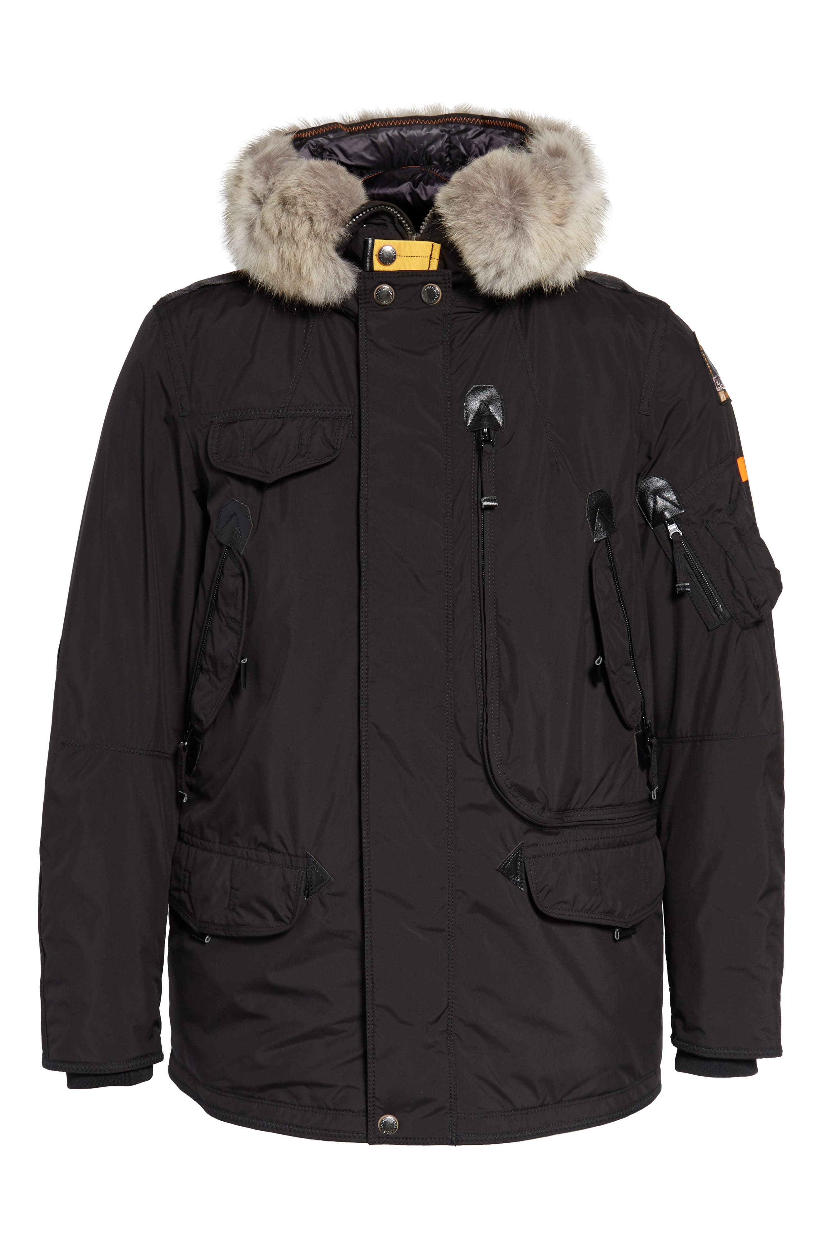 Right Hand Light 700 Fill Power Down Jacket with Genuine Coyote Fur Trim,                             Alternate thumbnail 5, color,                             BLACK