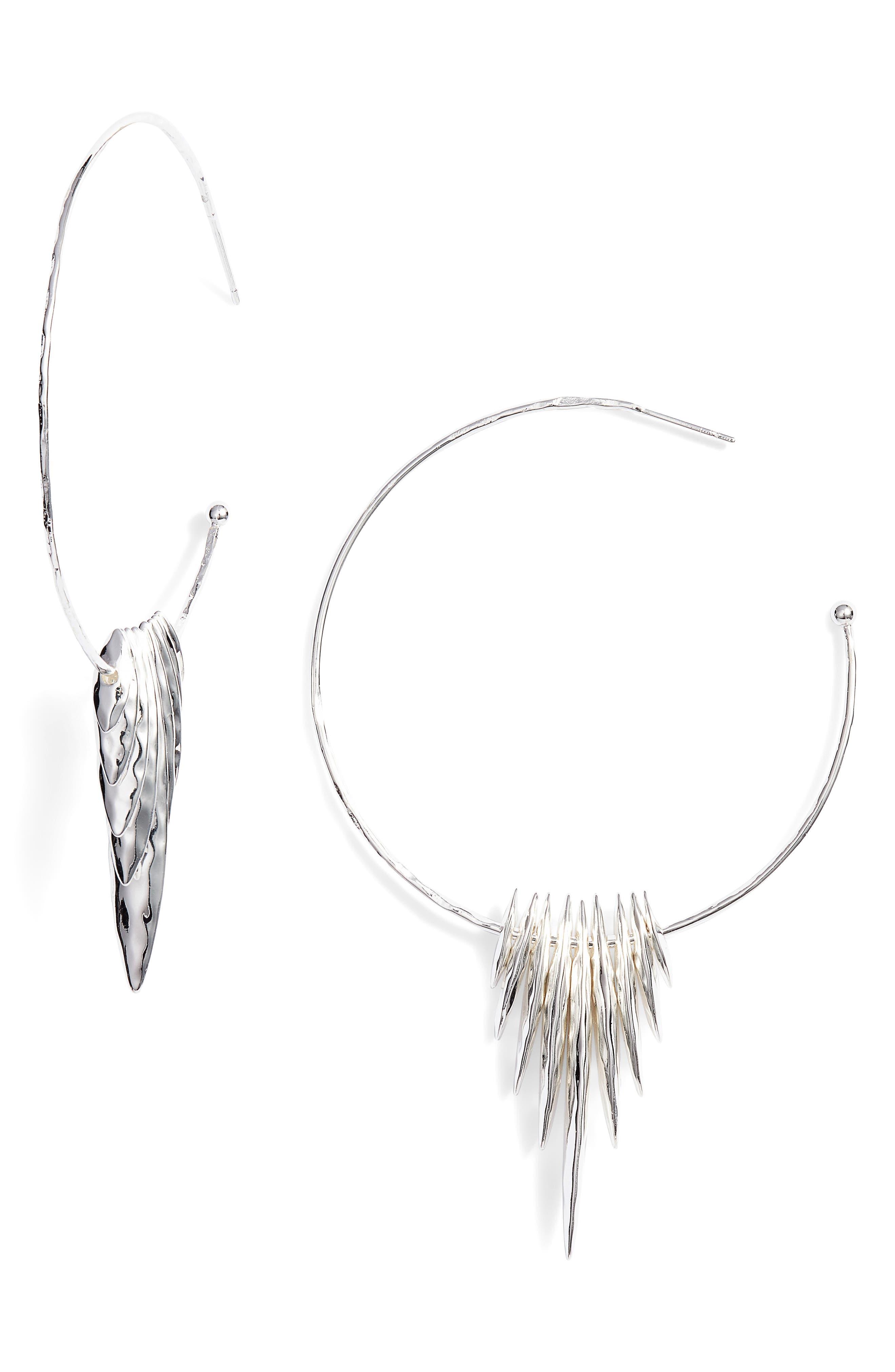 Nora Hammered Shard Hoop Earrings,                             Main thumbnail 1, color,