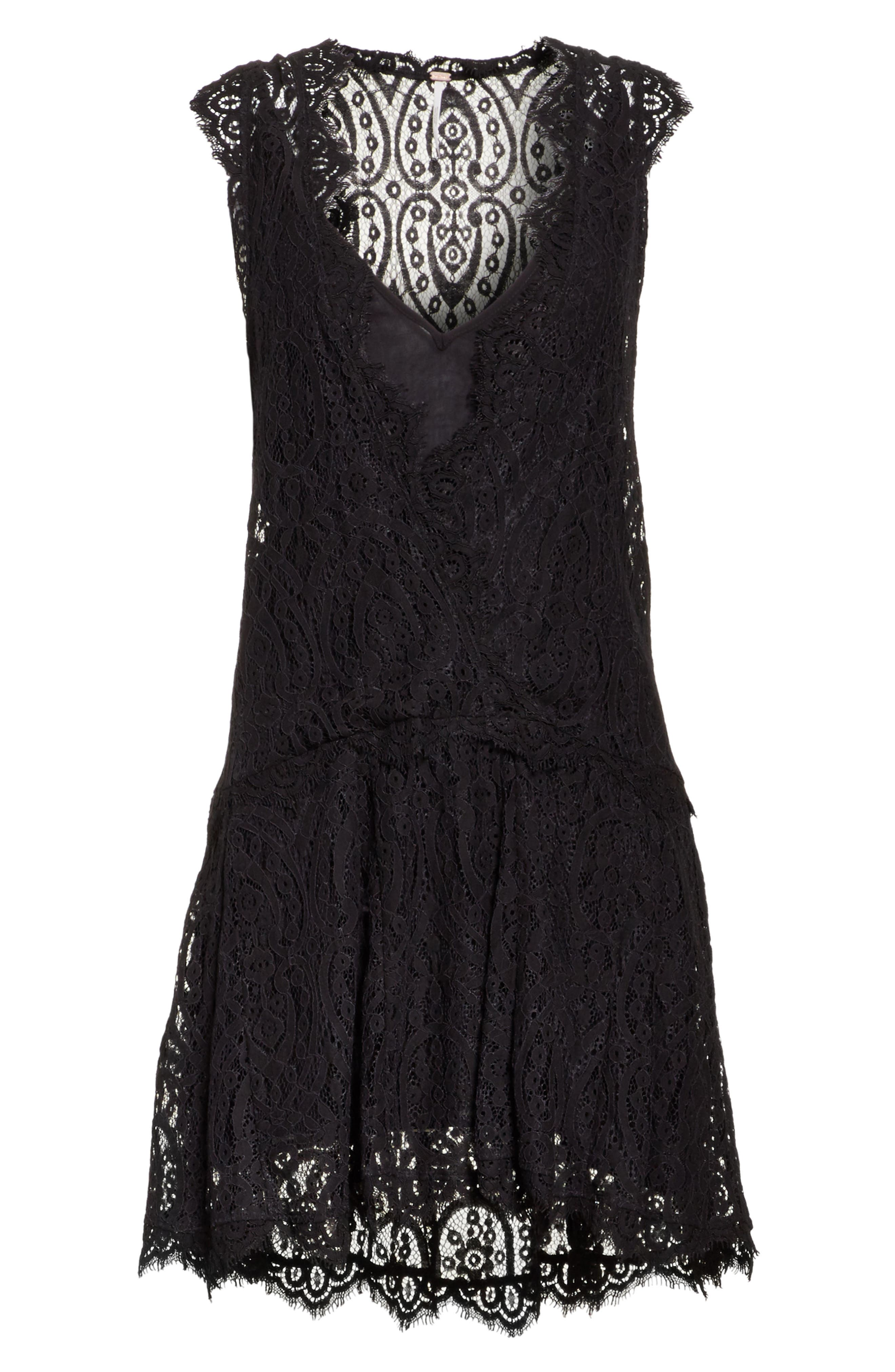 Heart in Two Lace Minidress,                             Alternate thumbnail 6, color,                             001