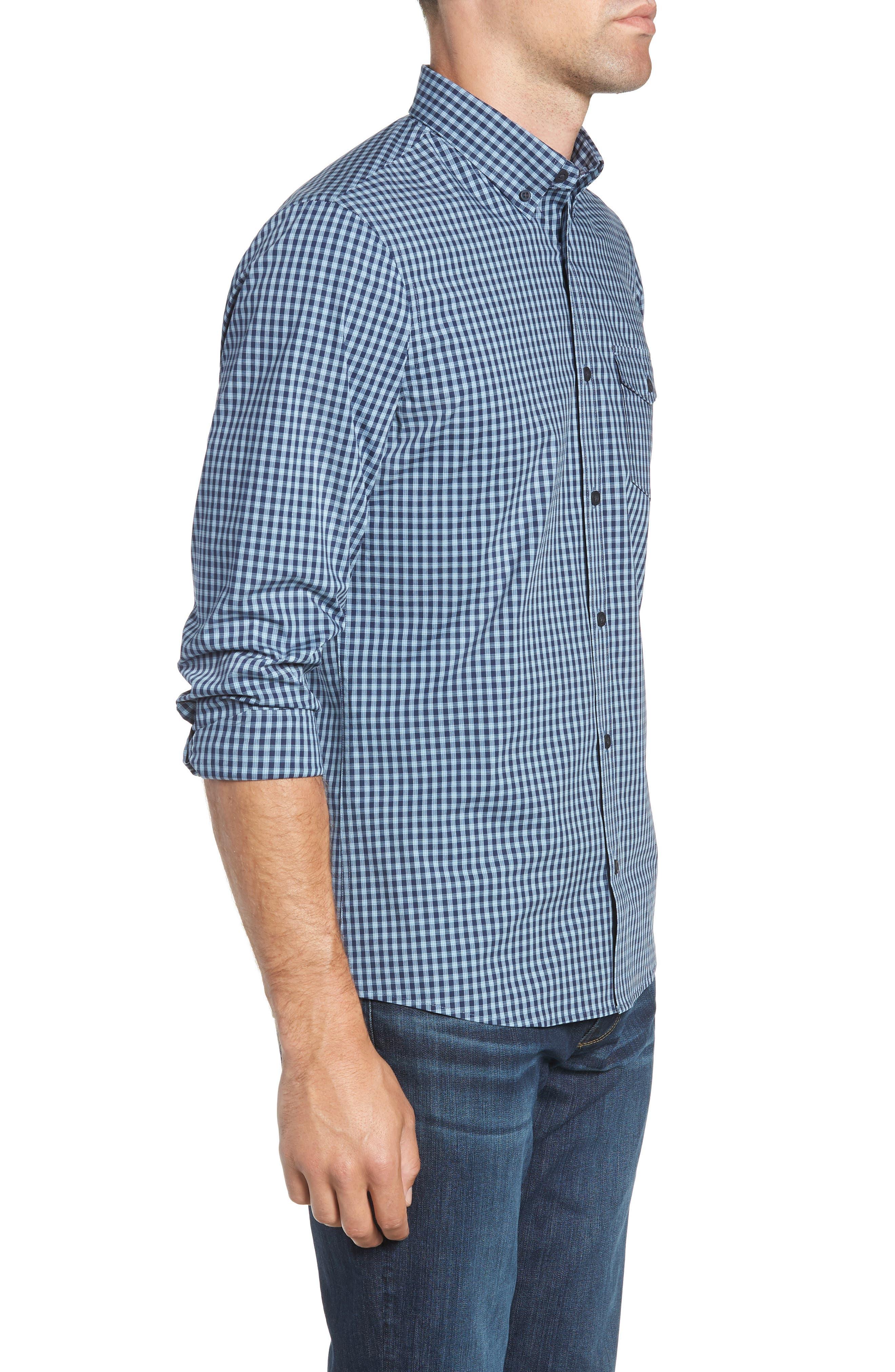 Tech-Smart Slim Fit Check Sport Shirt,                             Alternate thumbnail 4, color,                             NAVY NIGHT BLUE CHECK