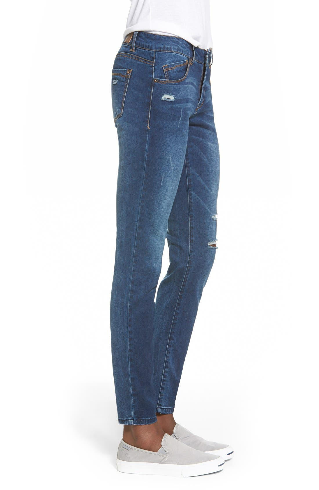 Distressed Skinny Denim Leggings,                             Alternate thumbnail 3, color,                             420
