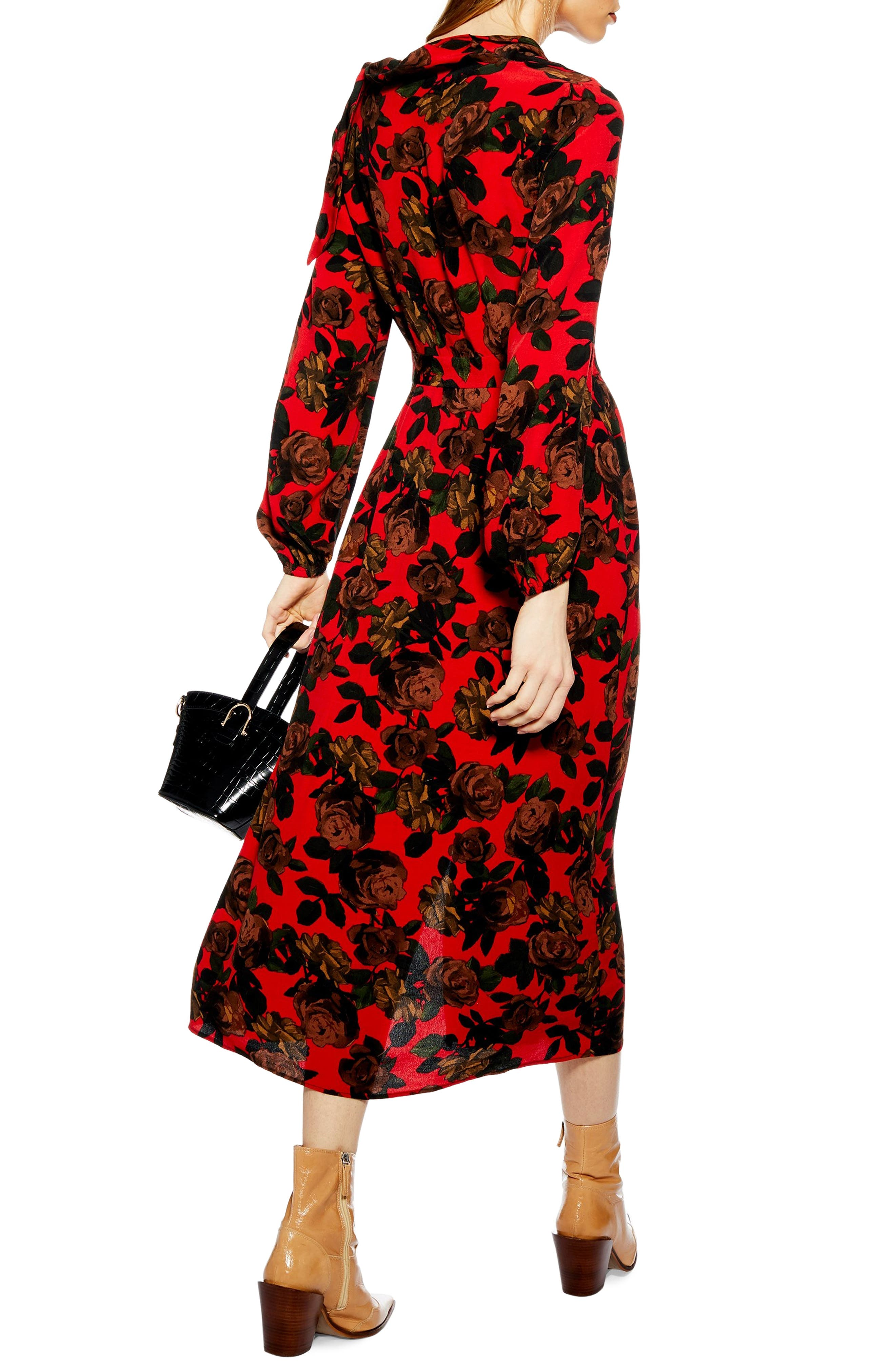 TOPSHOP,                             Rose Cut Tie Neck Midi Dress,                             Alternate thumbnail 2, color,                             RED MULTI
