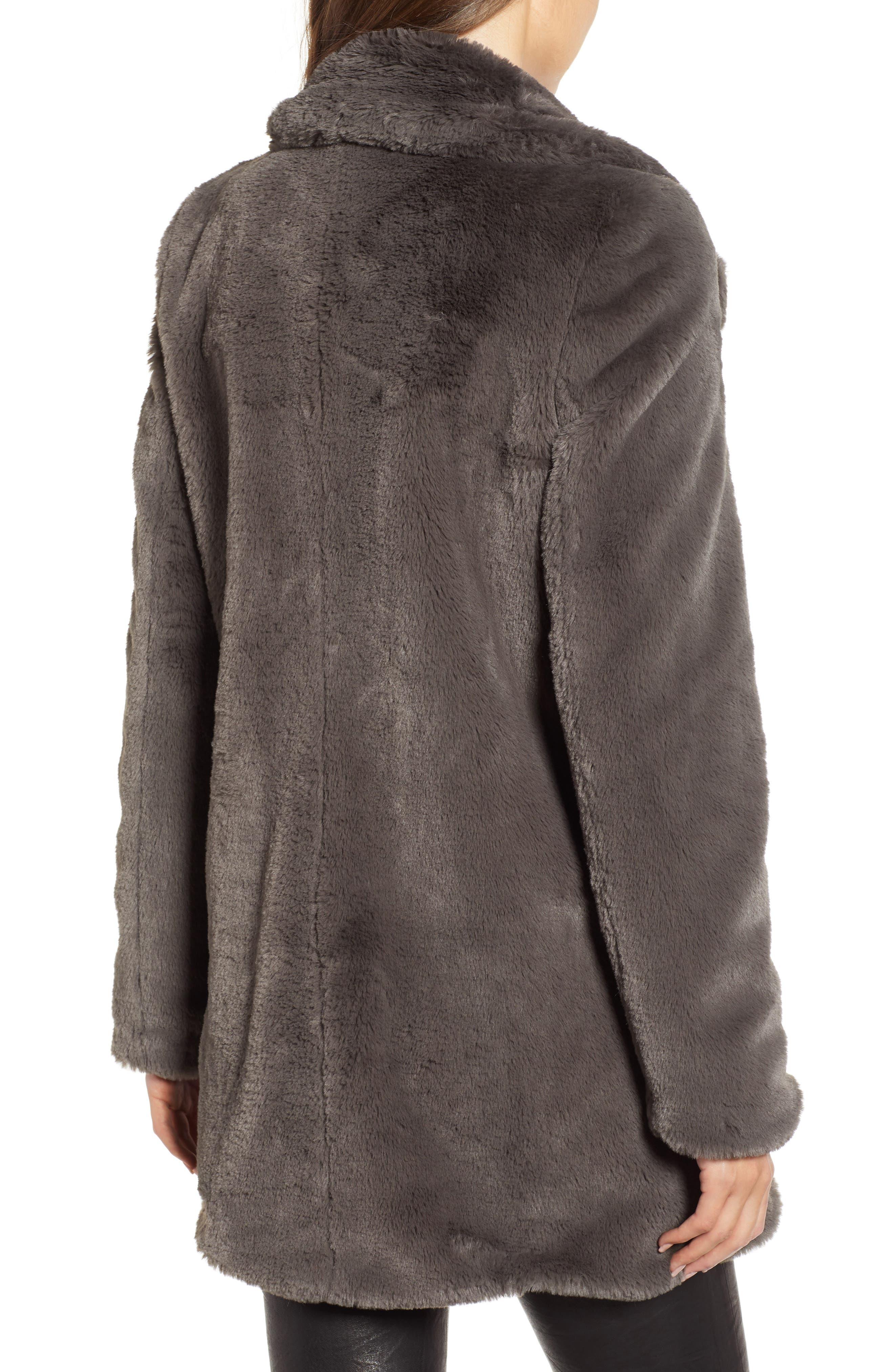 Faux Fur Coat,                             Alternate thumbnail 2, color,                             GREY