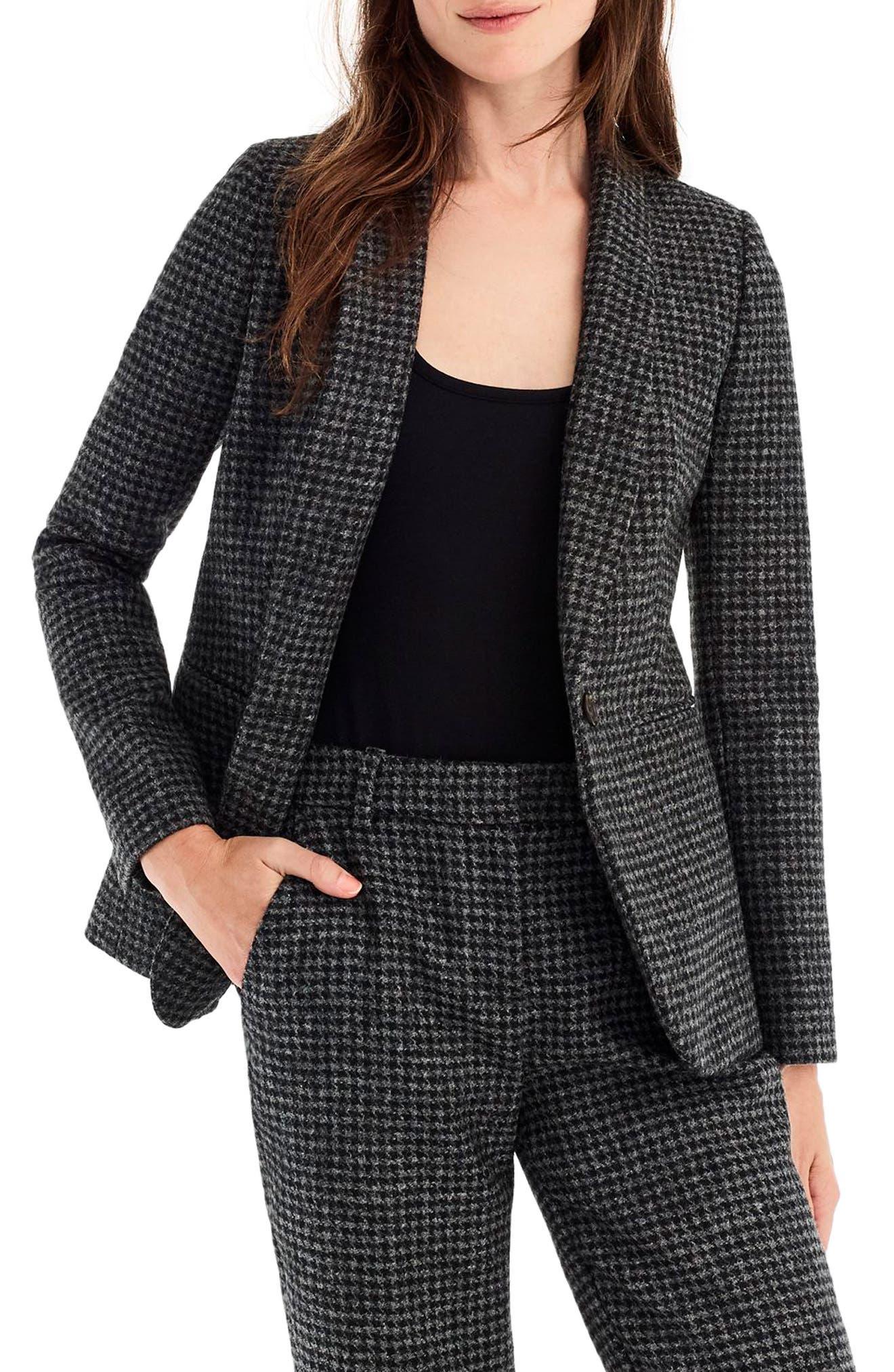 Parke Houndstooth Wool Blazer, Main, color, BLACK SLATE
