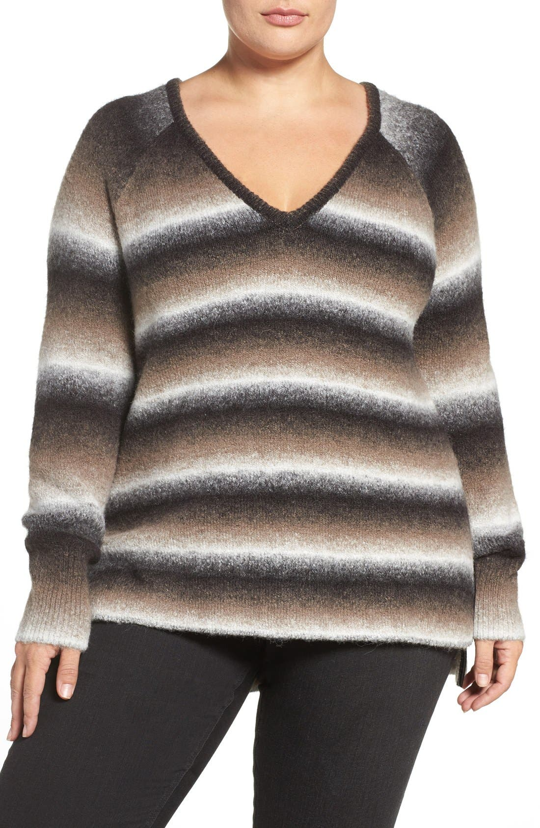 'Bary' Ombré Stripe V-Neck Sweater,                             Main thumbnail 1, color,                             DARK OMBRE