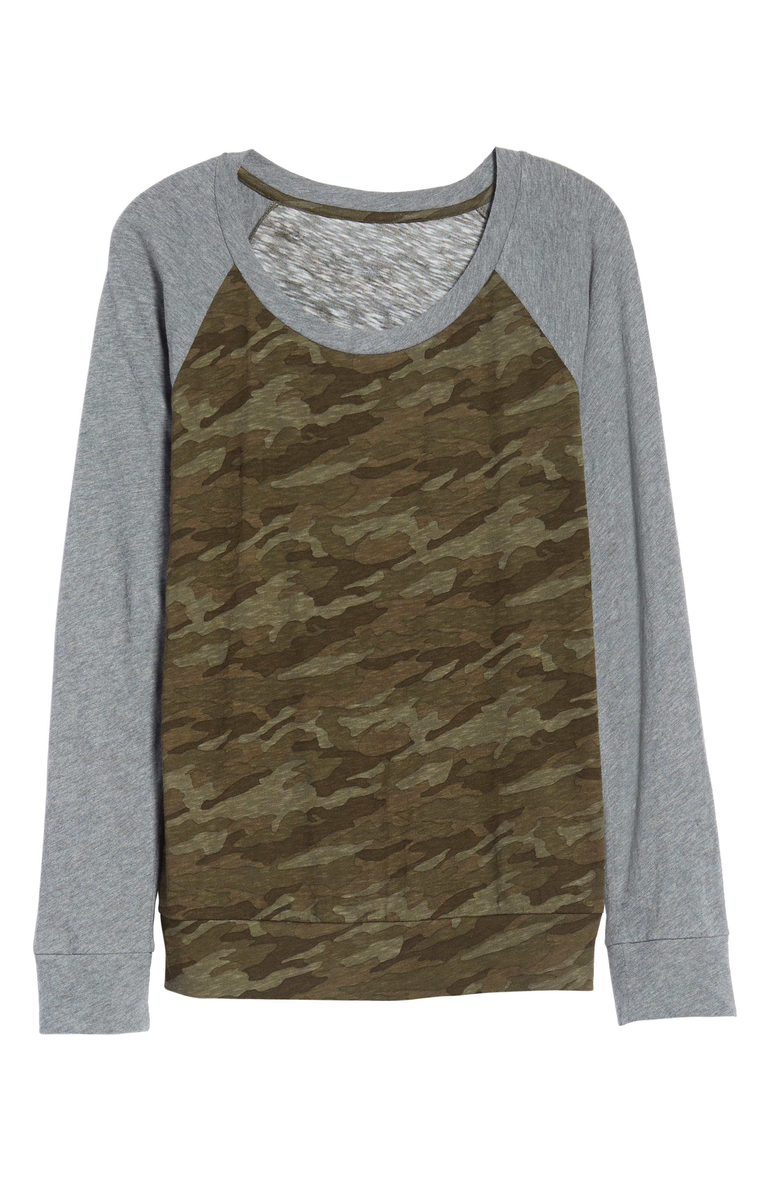 Lightweight Colorblock Cotton Tee,                             Alternate thumbnail 6, color,                             OLIVE CAMO - GREY