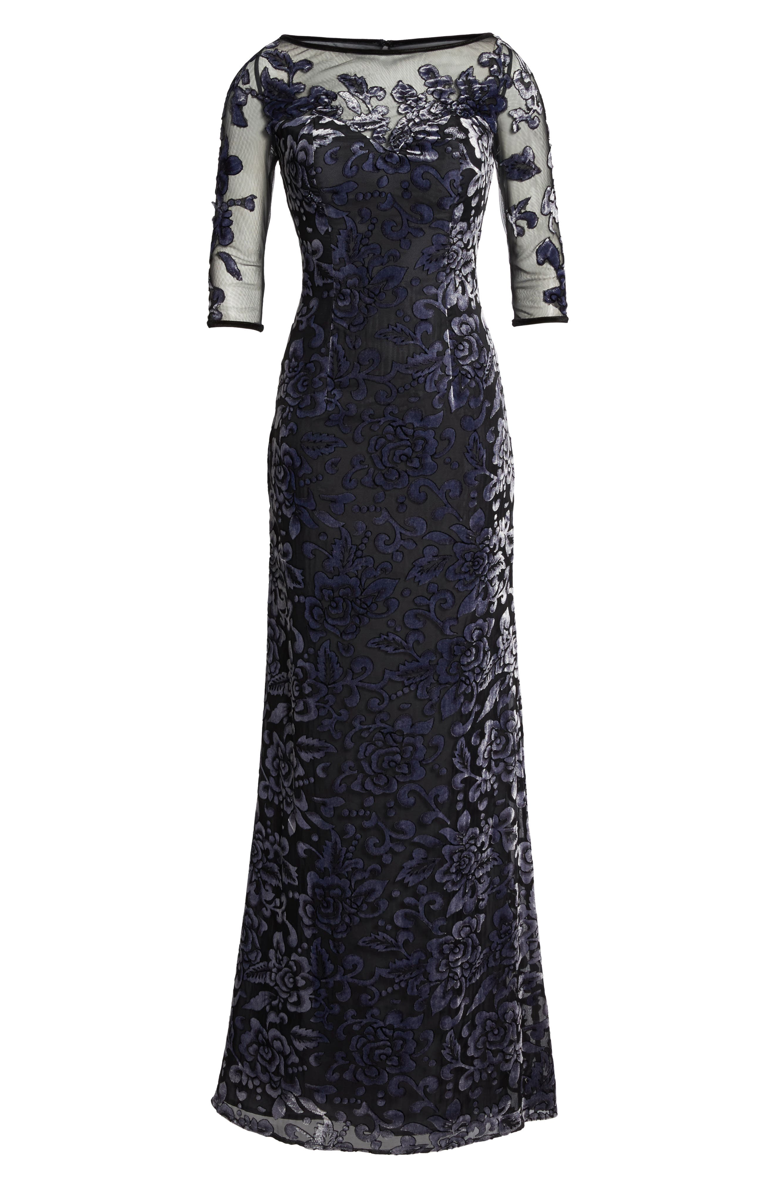 Burnout Velvet Gown,                             Alternate thumbnail 6, color,                             GUNMETAL