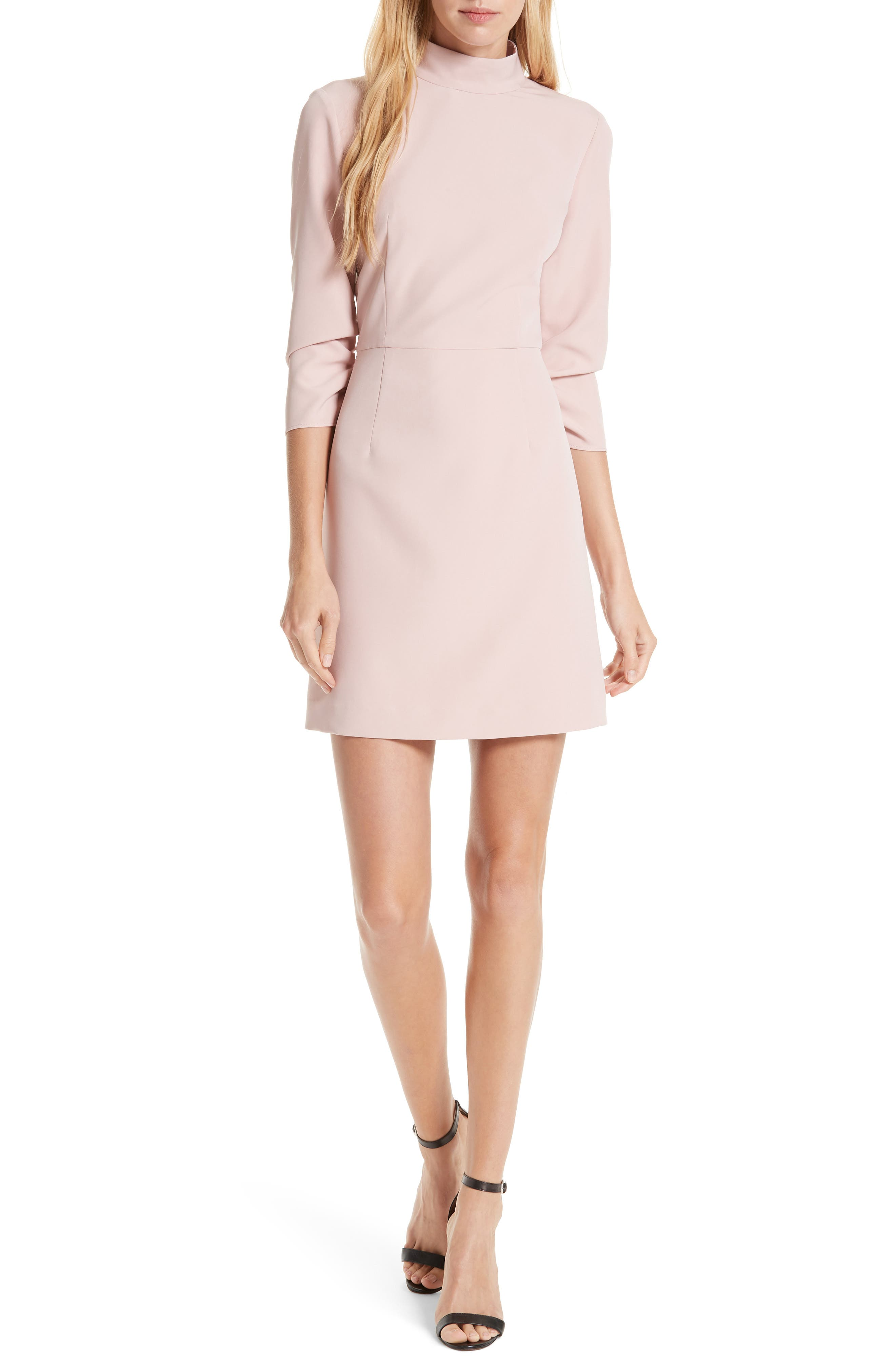 Milly Kendall Mock Neck Dress, Pink