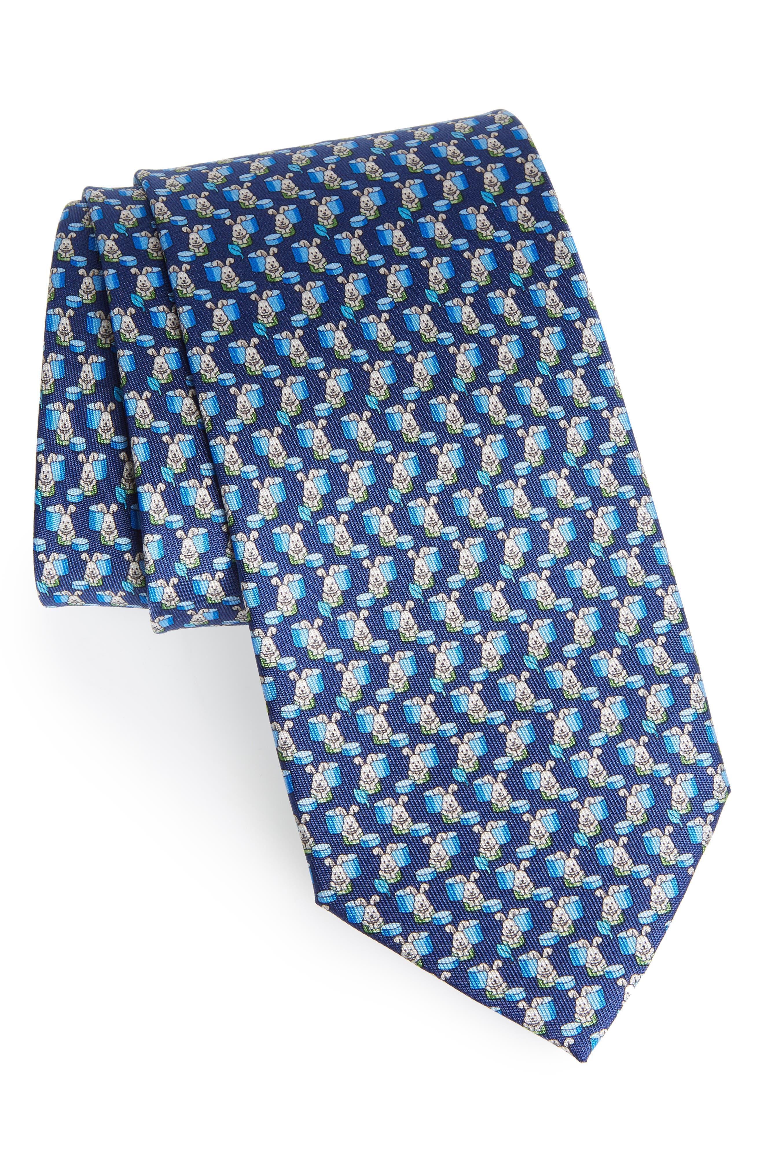 Bunny Print Silk Tie,                         Main,                         color, 430