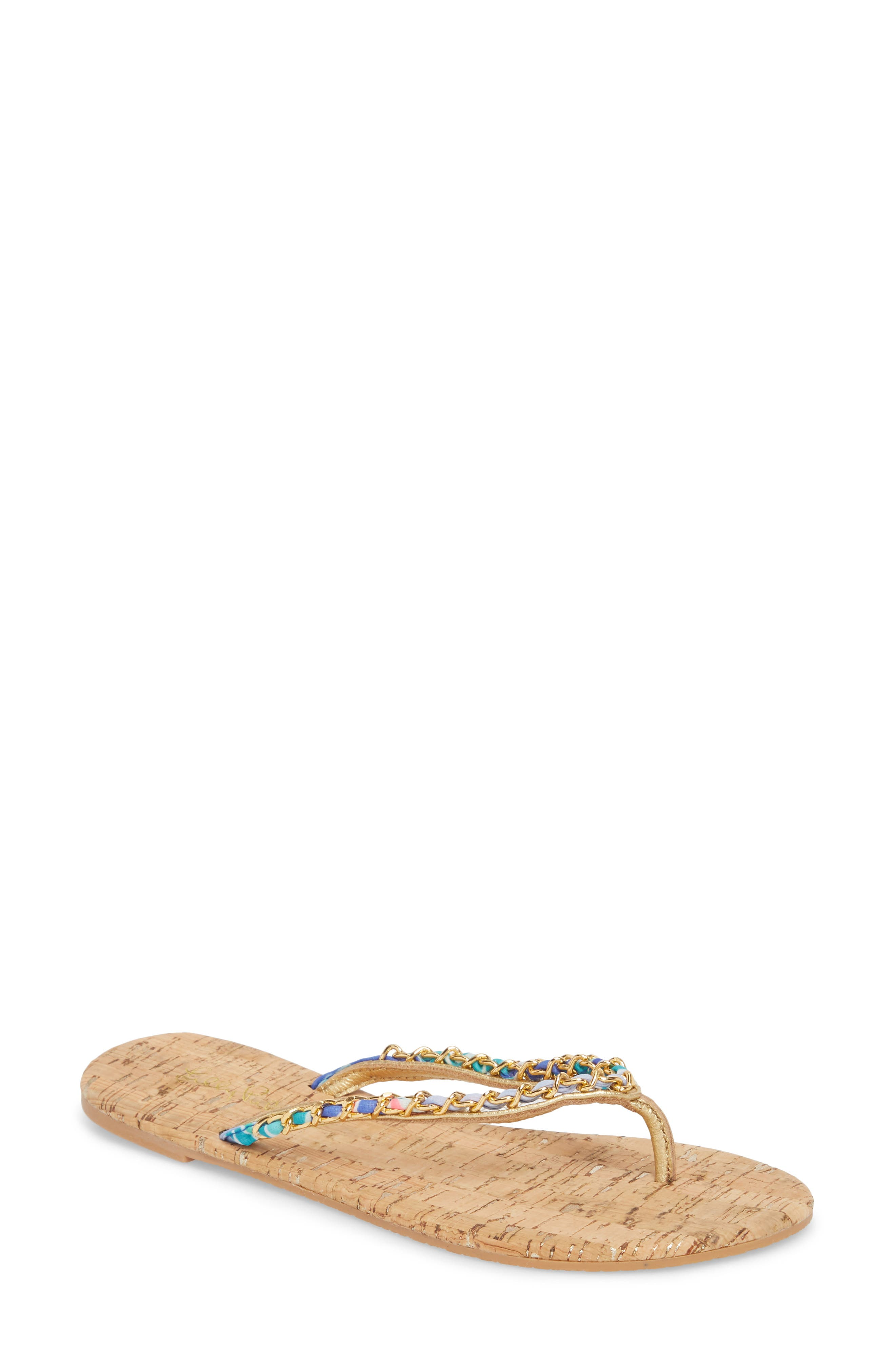 Lily Pulitzer<sup>®</sup> Naples Chain Trimmed Flip Flop,                         Main,                         color, NATURAL