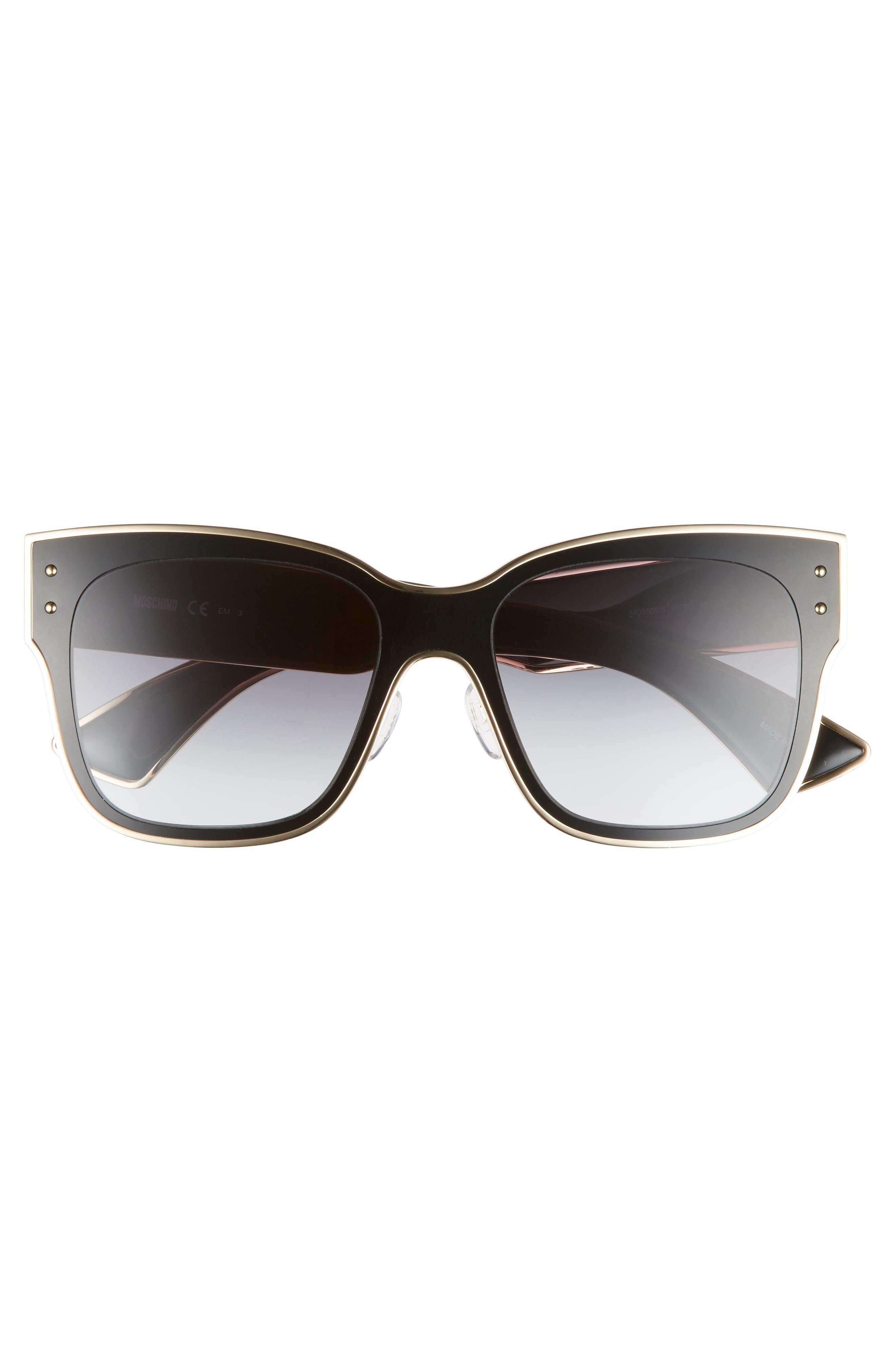 55mm Cat Eye Sunglasses,                             Alternate thumbnail 3, color,                             BLACK