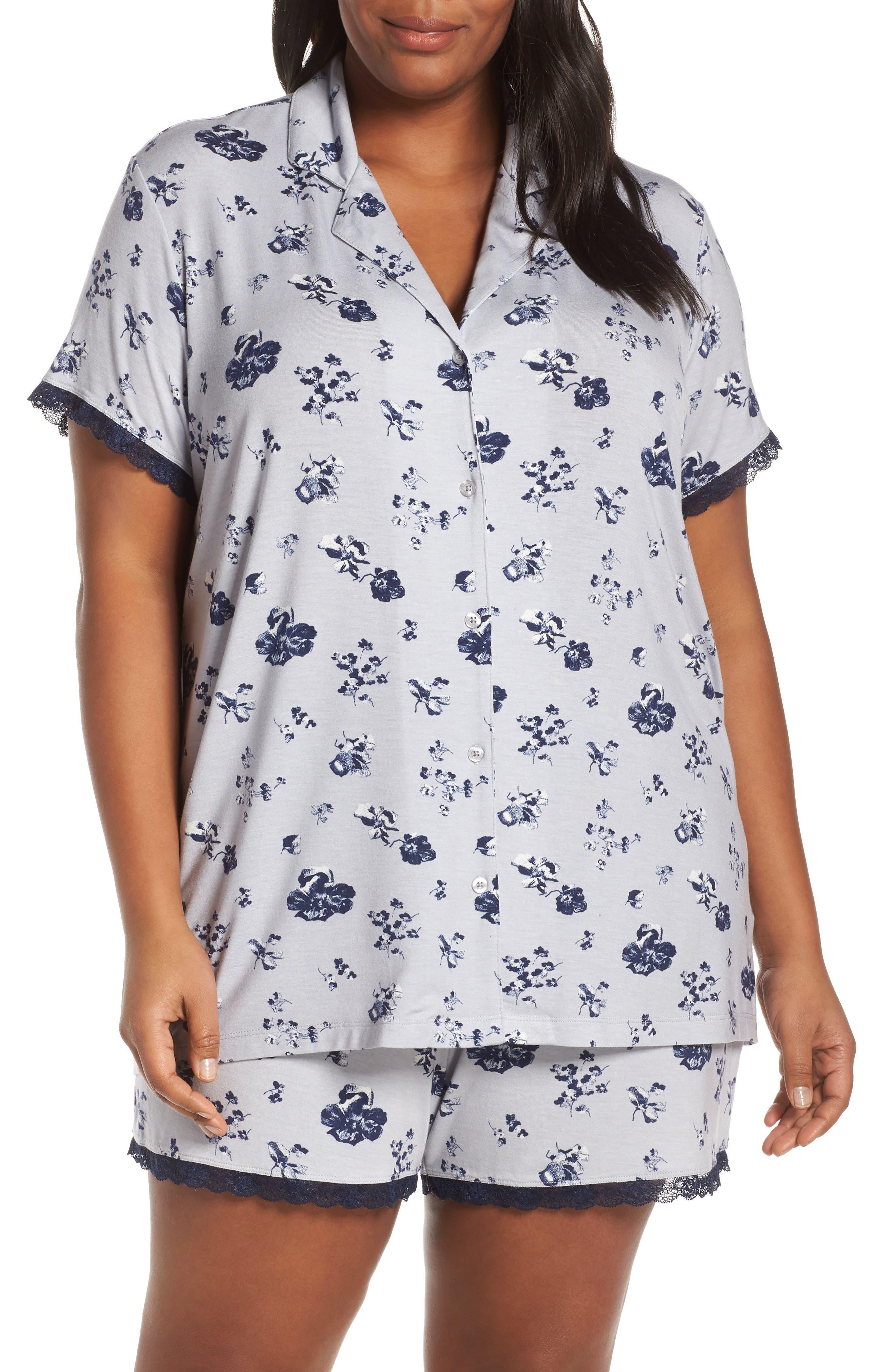 Plus Size Nordstrom Lingerie Moonlight Shortie Pajamas, Grey