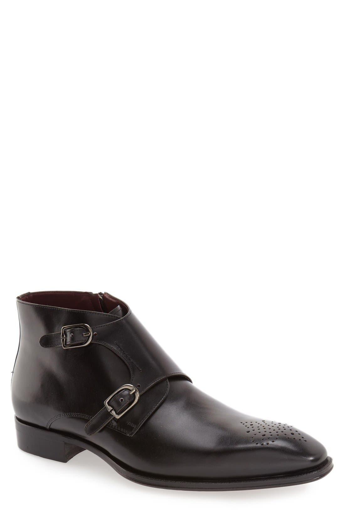 'Rocca' Midi Double Monk Strap Boot,                             Main thumbnail 1, color,                             001