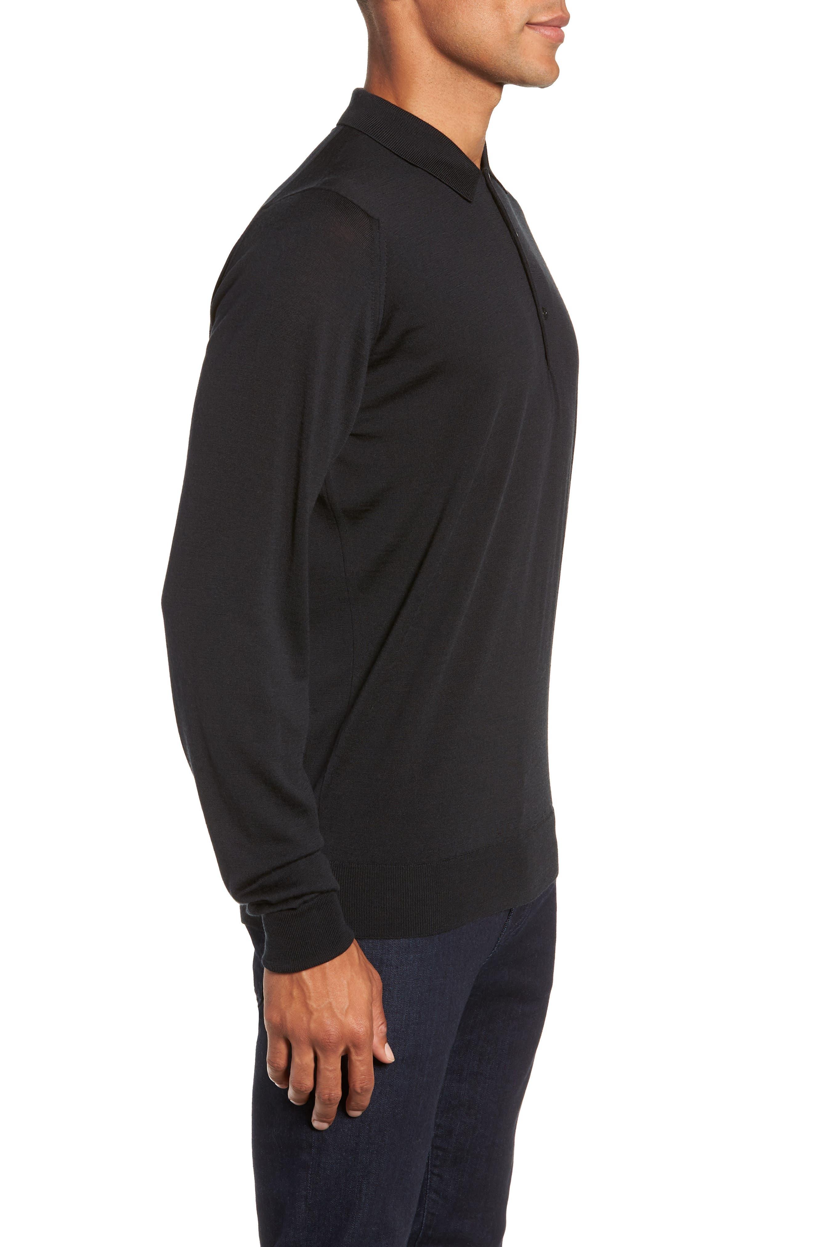 Slim Fit Long Sleeve Merino Polo,                             Alternate thumbnail 3, color,                             001