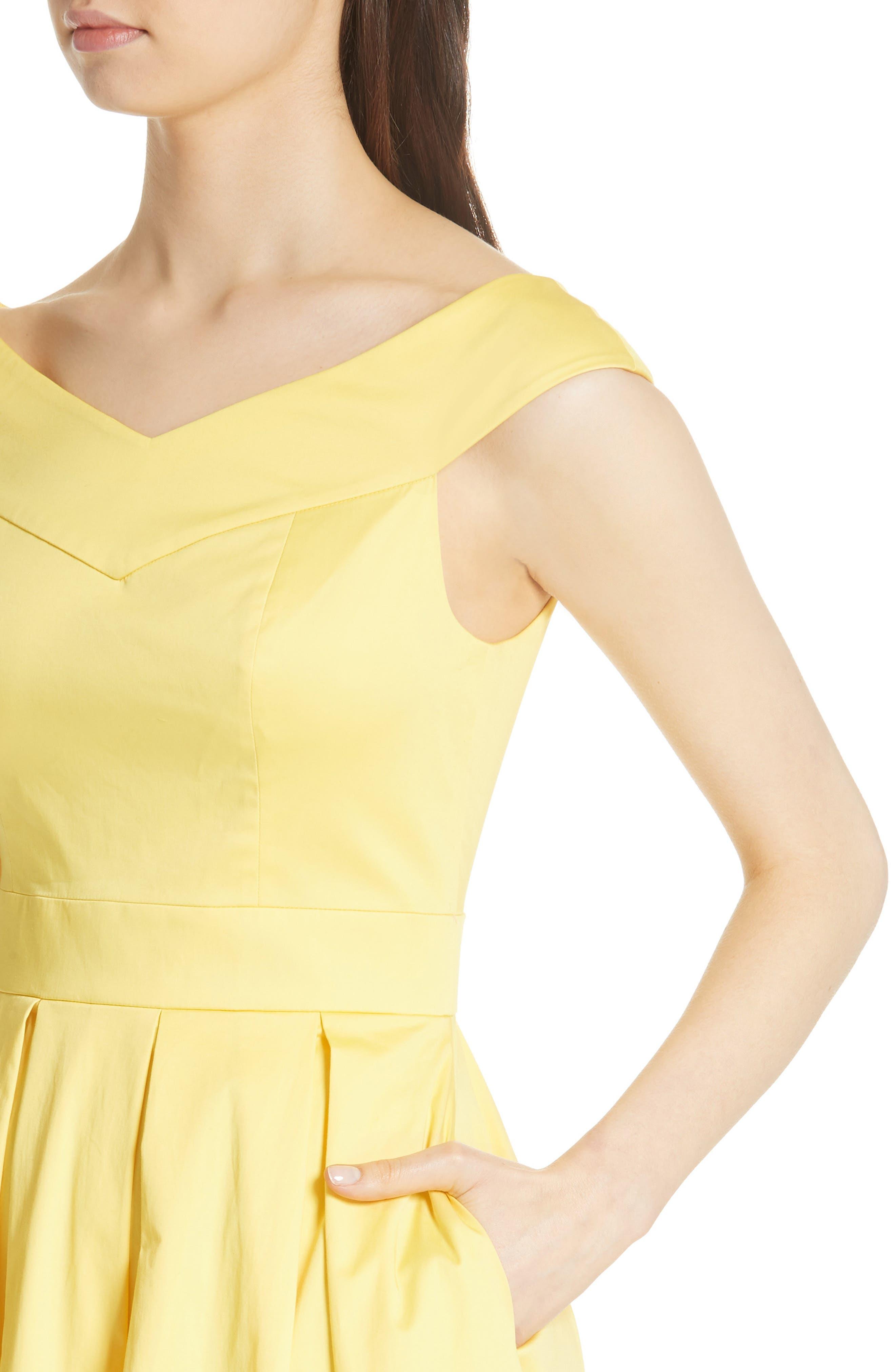 Jullee Off the Shoulder Stretch Cotton Dress,                             Alternate thumbnail 4, color,                             720