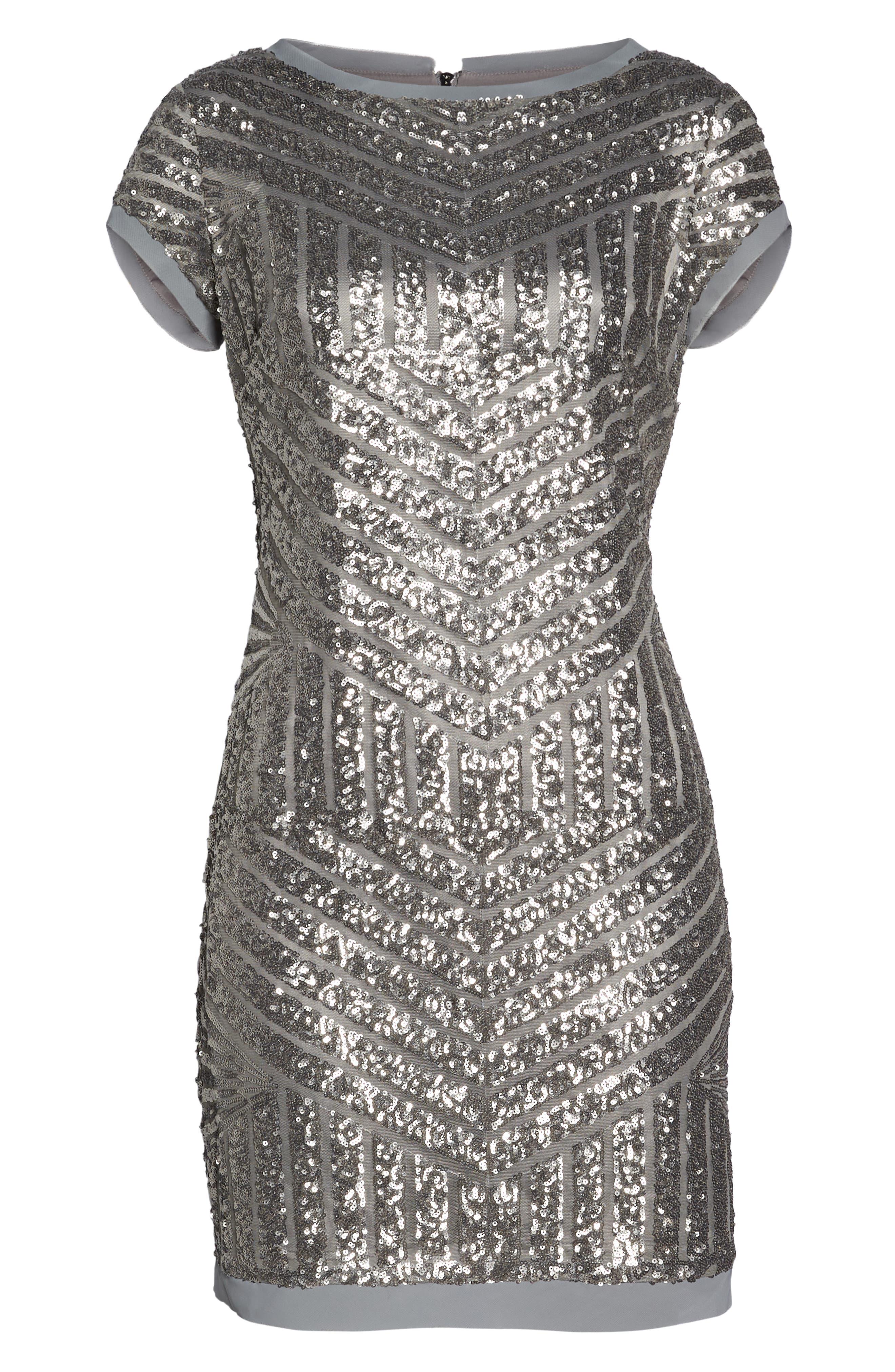 Sequin Embellished Shift Dress,                             Alternate thumbnail 7, color,                             040