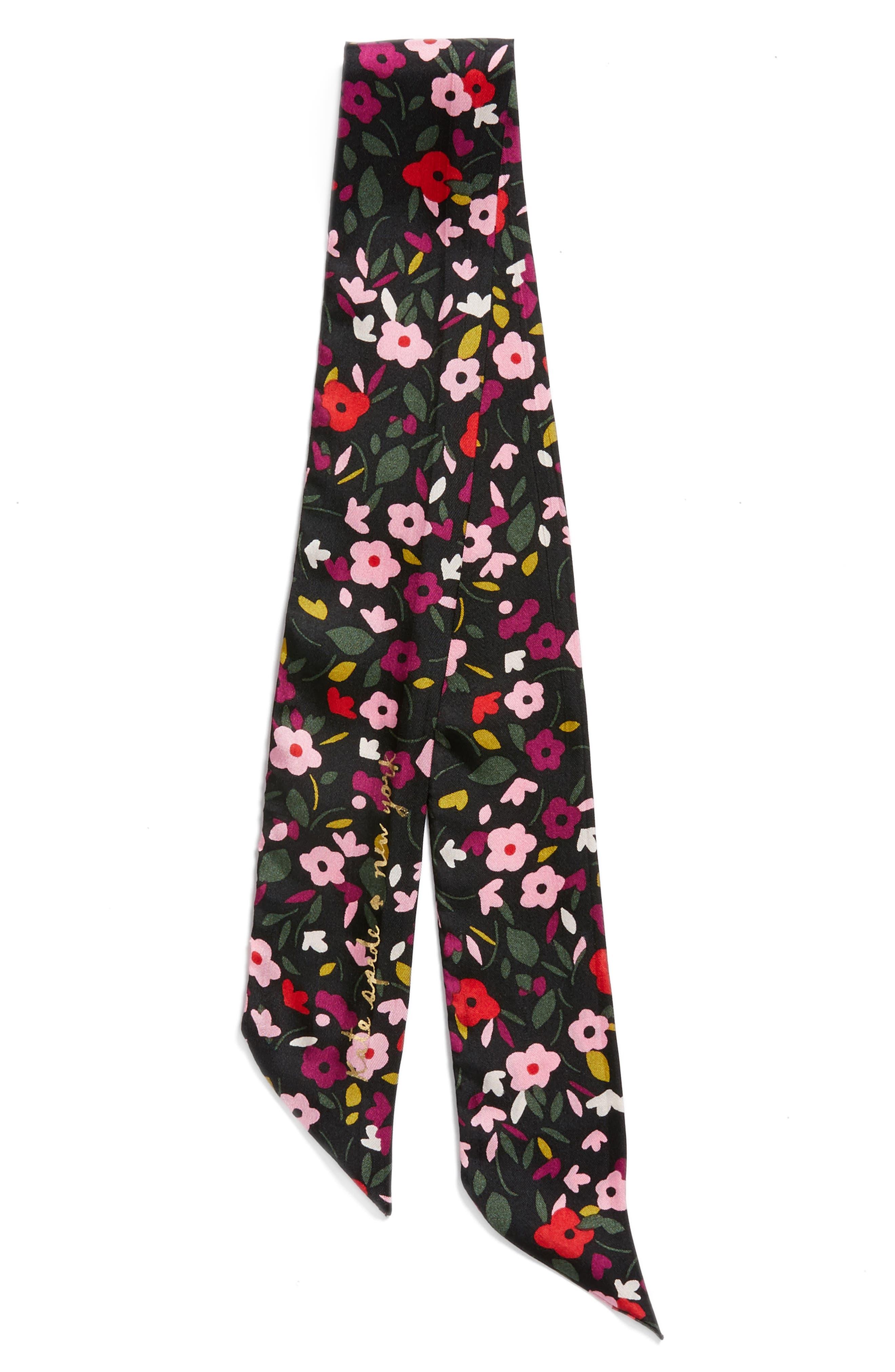 bohemian floral silk skinny scarf,                             Alternate thumbnail 3, color,                             001
