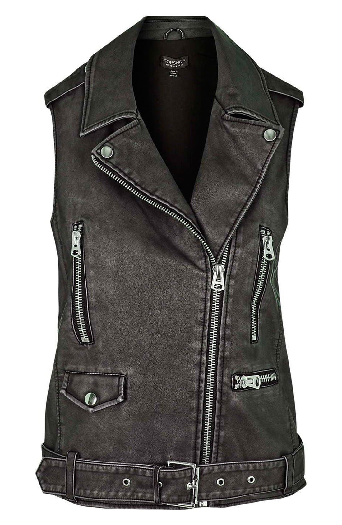 TOPSHOP,                             'Sylvia' Faux Leather Moto Vest,                             Alternate thumbnail 3, color,                             001