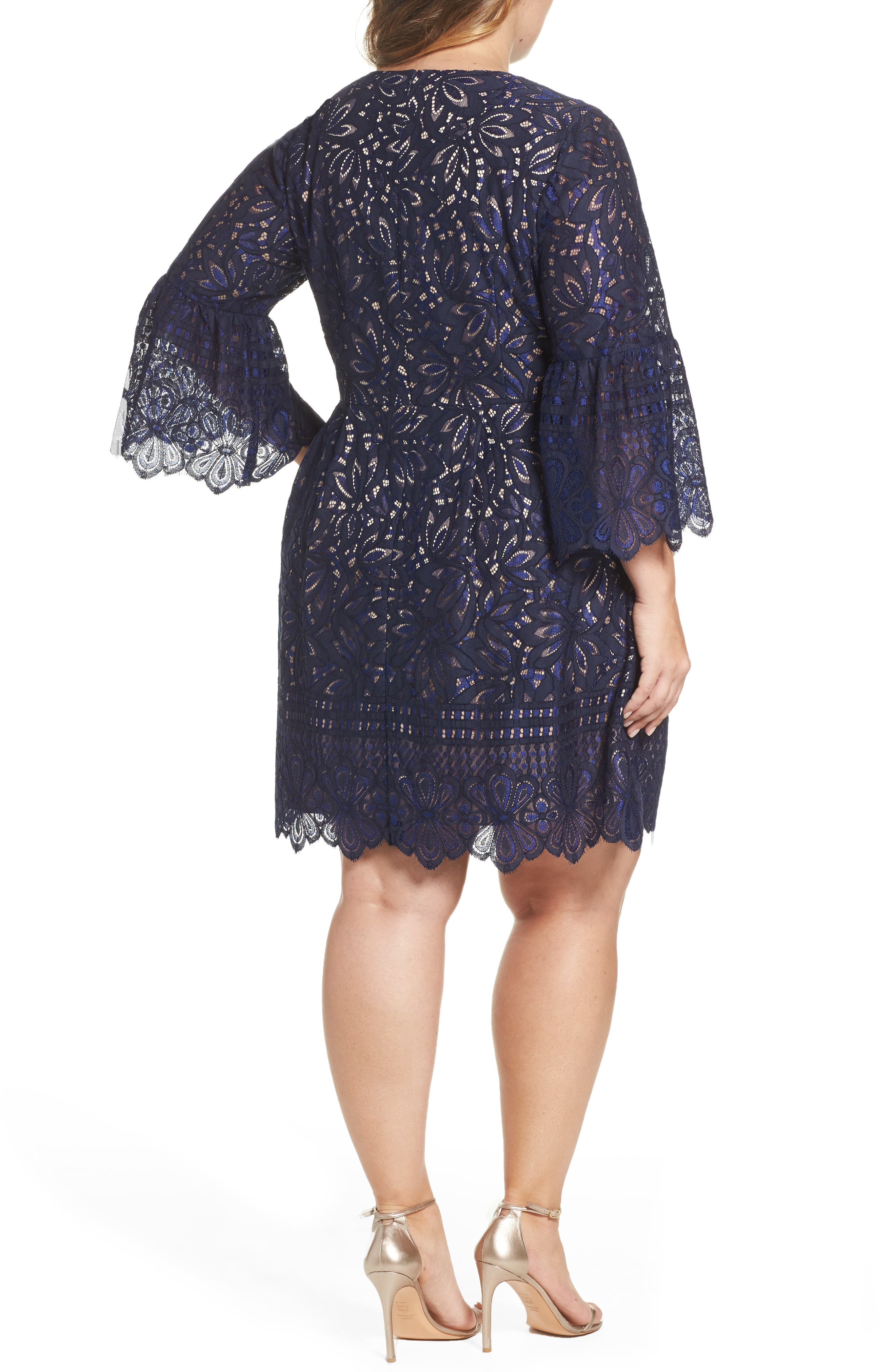 Lace Bell Sleeve Fit & Flare Dress,                             Alternate thumbnail 2, color,