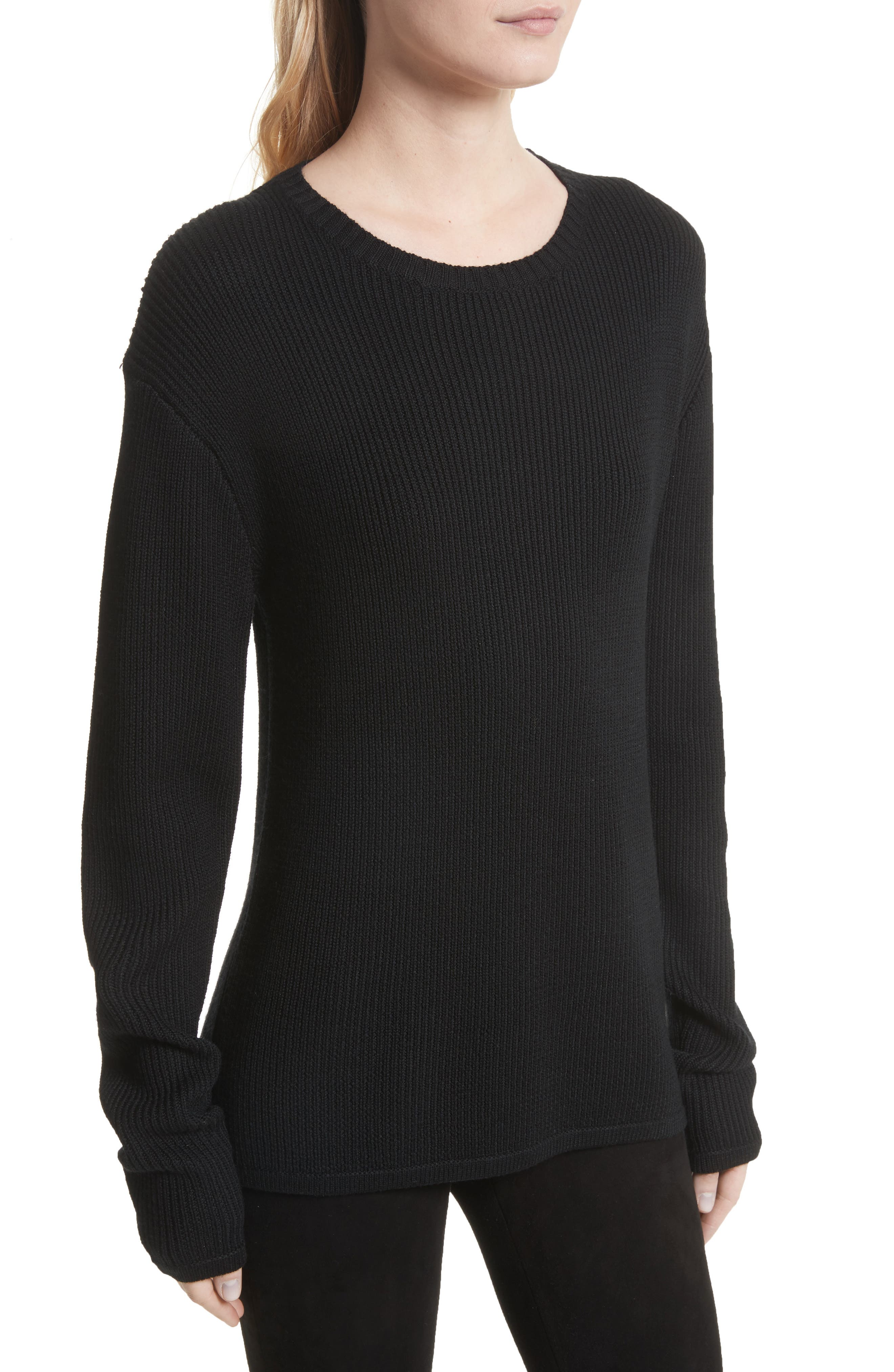 Antonio Lace Back Wool Sweater,                             Alternate thumbnail 4, color,                             001