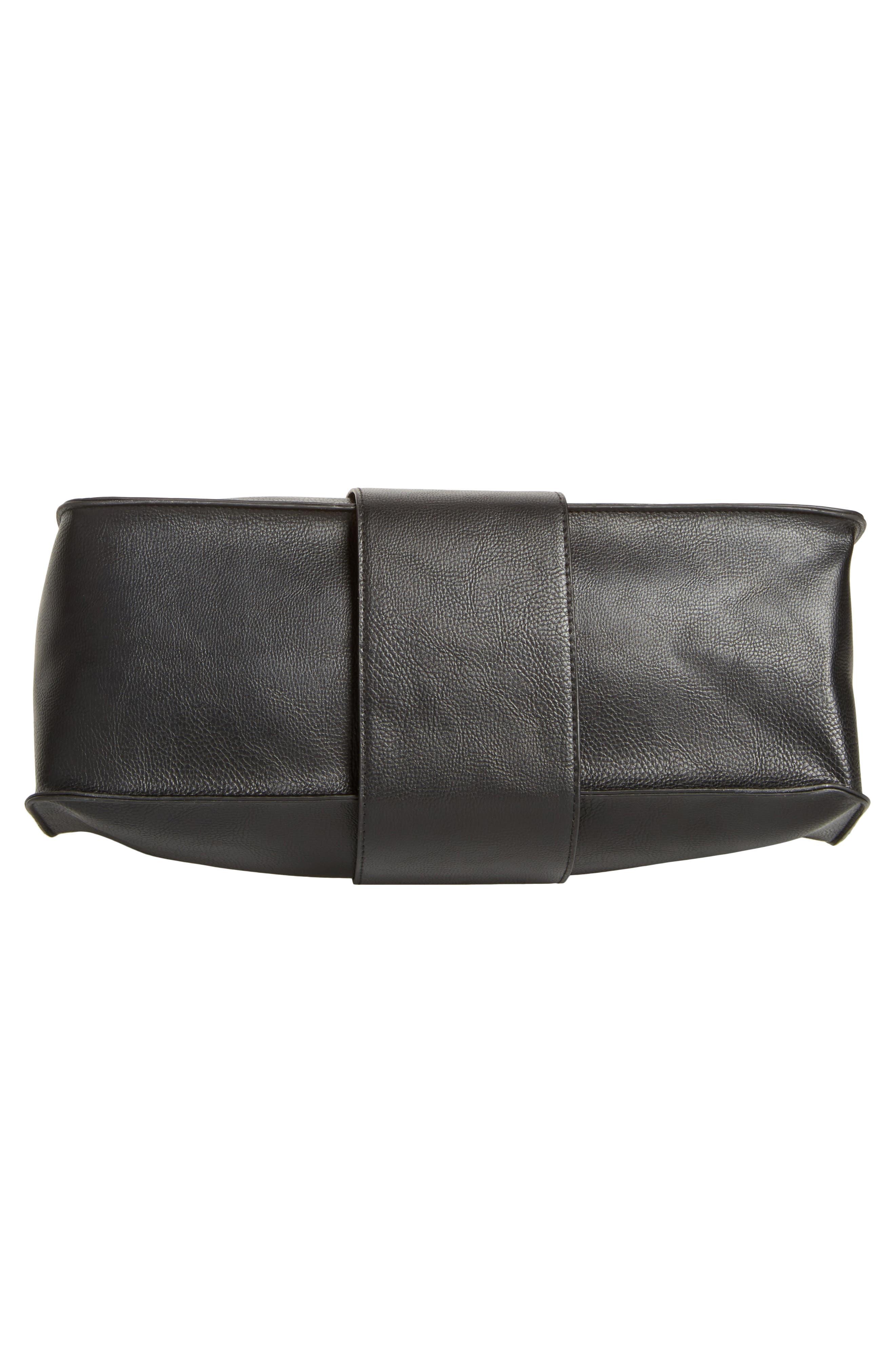 Metal Handle Faux Leather Satchel,                             Alternate thumbnail 6, color,