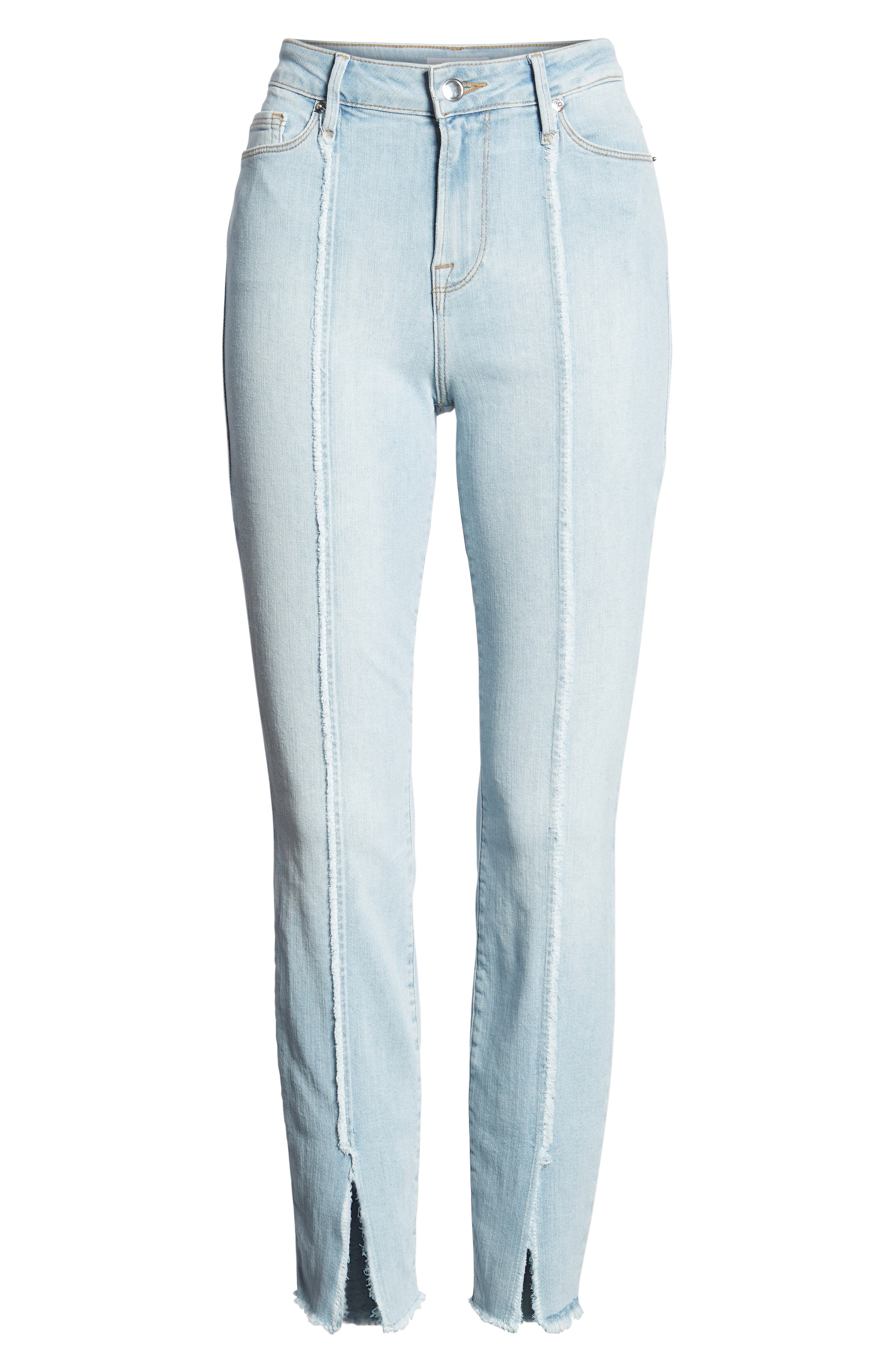 Good Legs High Waist Raw Seam Crop Skinny Jeans,                             Alternate thumbnail 7, color,                             401