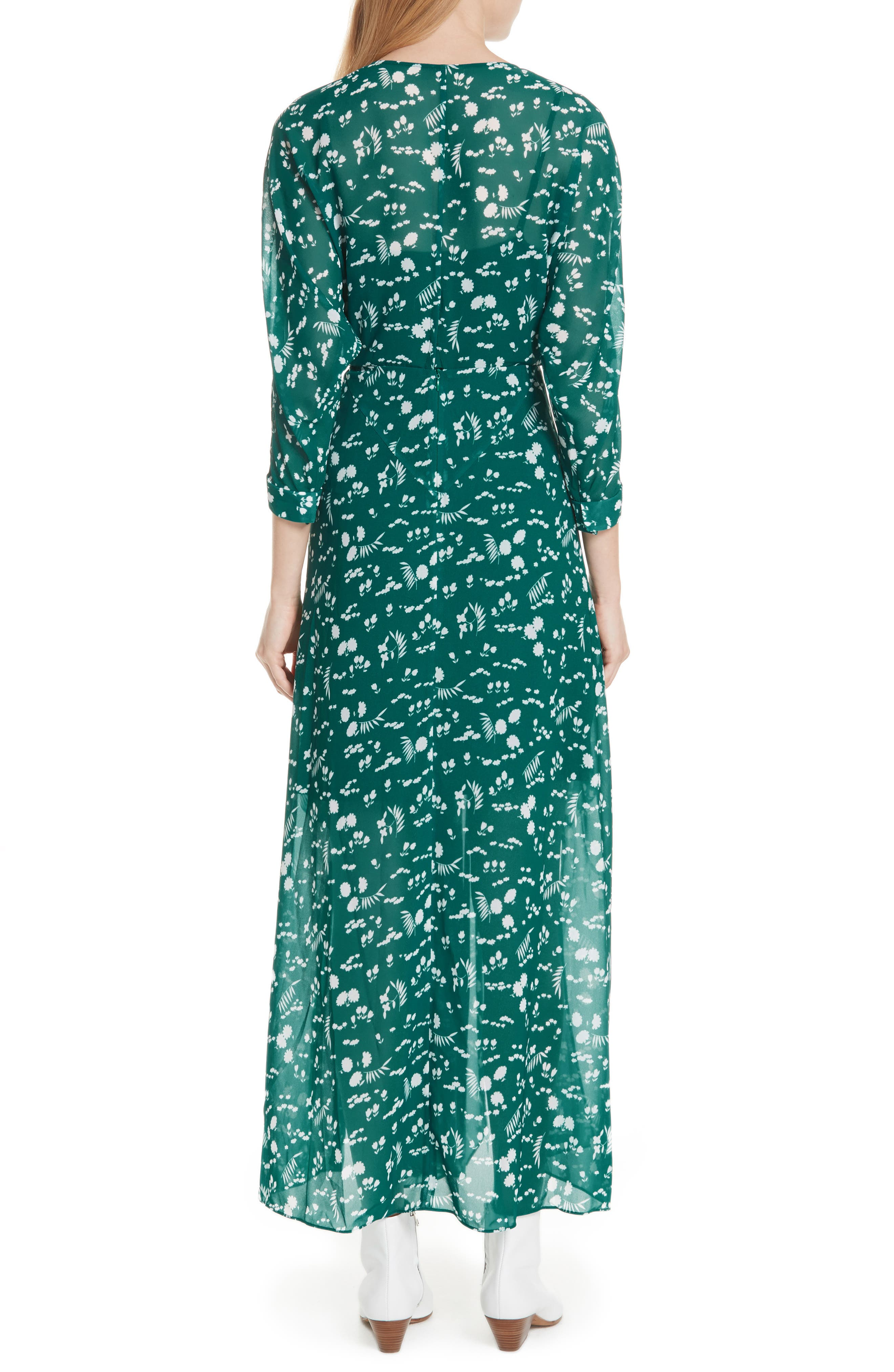Floral Print Maxi Dress,                             Alternate thumbnail 2, color,