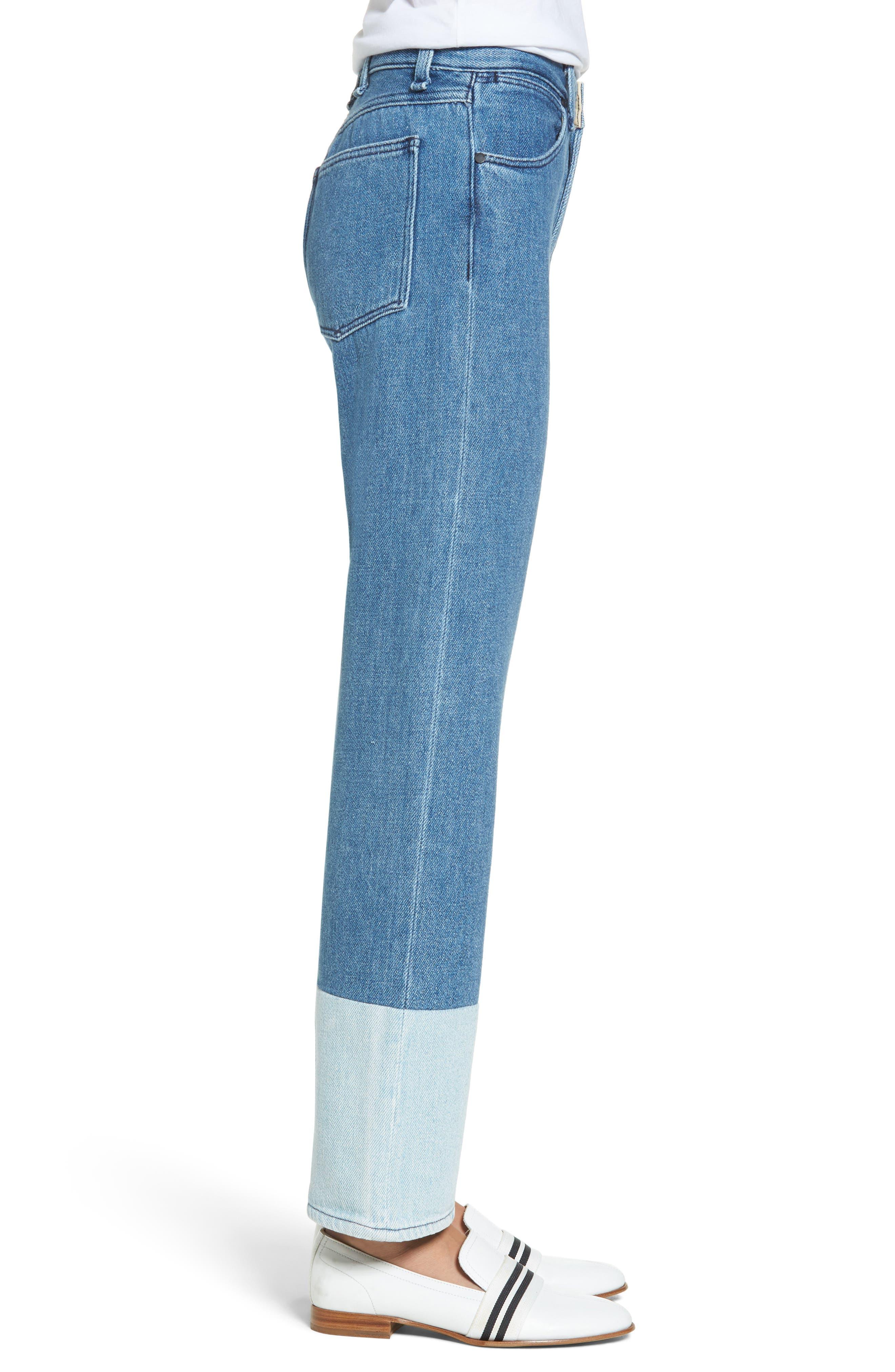 High Waist Straight Leg Jeans,                             Alternate thumbnail 3, color,                             404