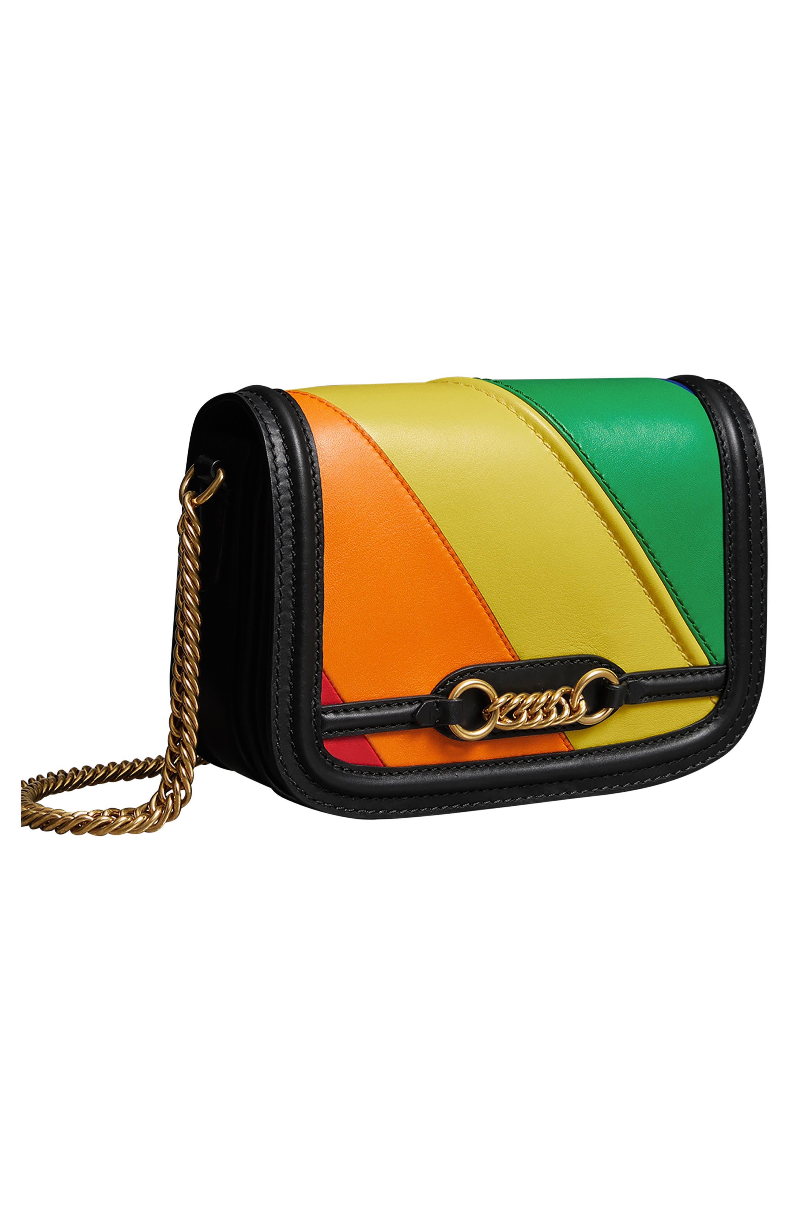 Rainbow Stripe Link Flap Leather Crossbody Bag,                             Alternate thumbnail 4, color,                             001