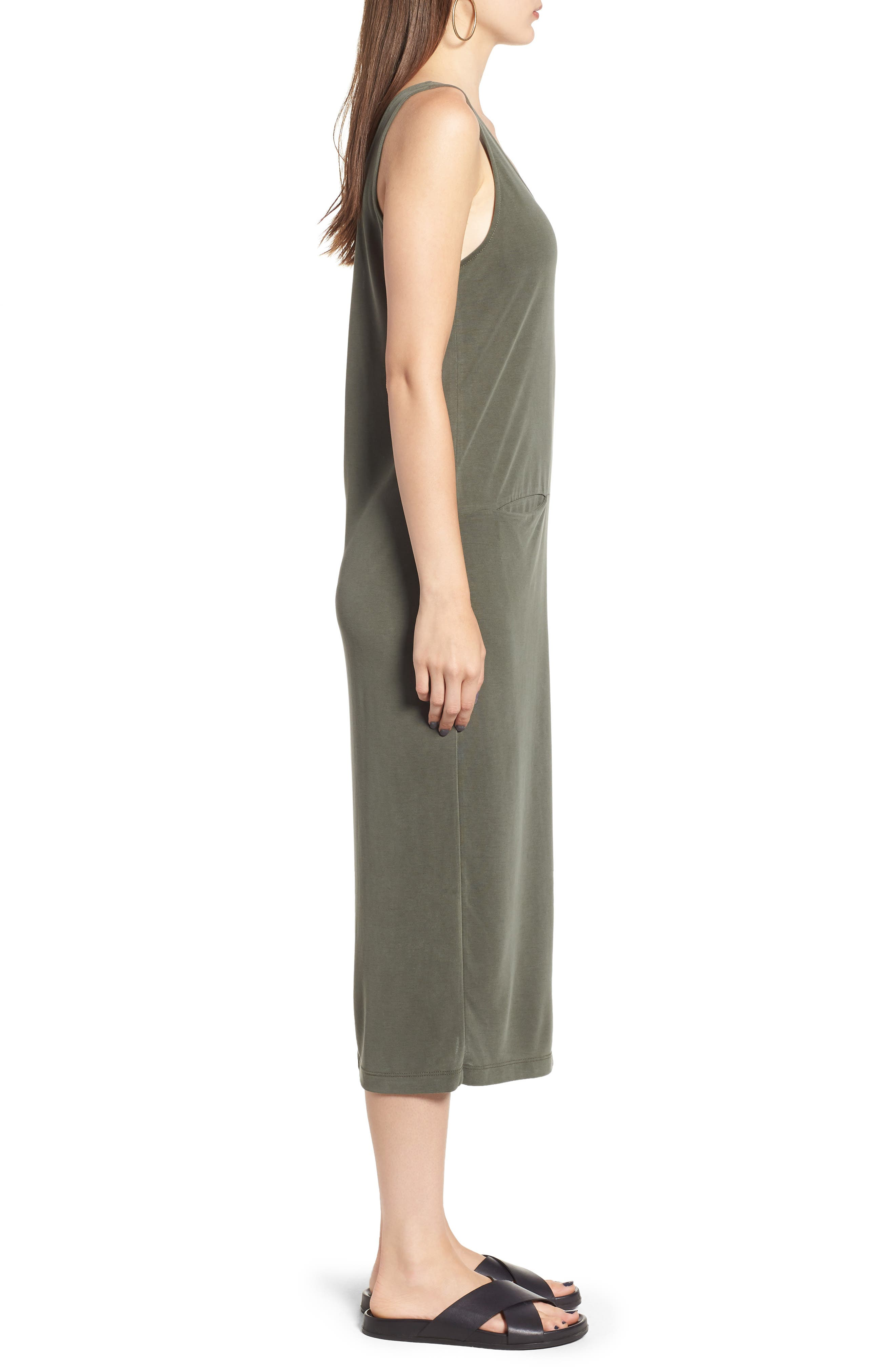 Tank Midi Dress,                             Alternate thumbnail 3, color,                             OLIVE BURNT